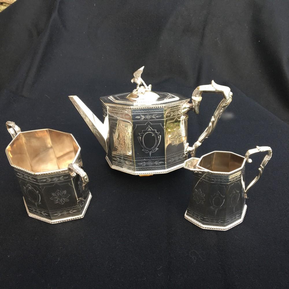 silver plated tea service english c 1890