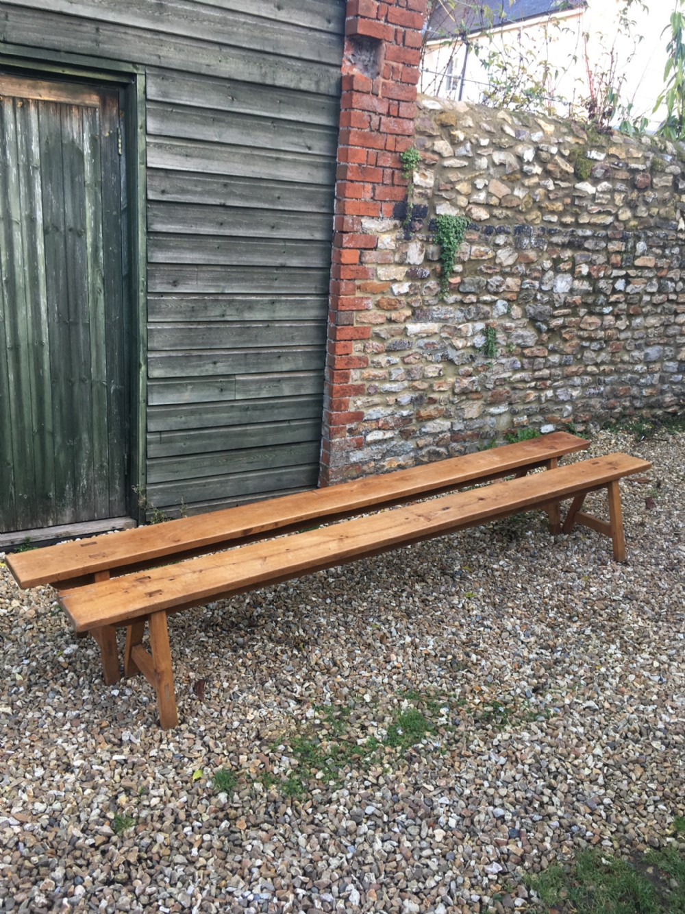 long pair of cherrywood farmhouse benches