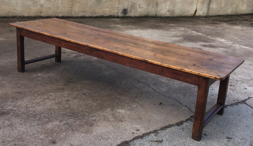 very large pine topped farmhouse table