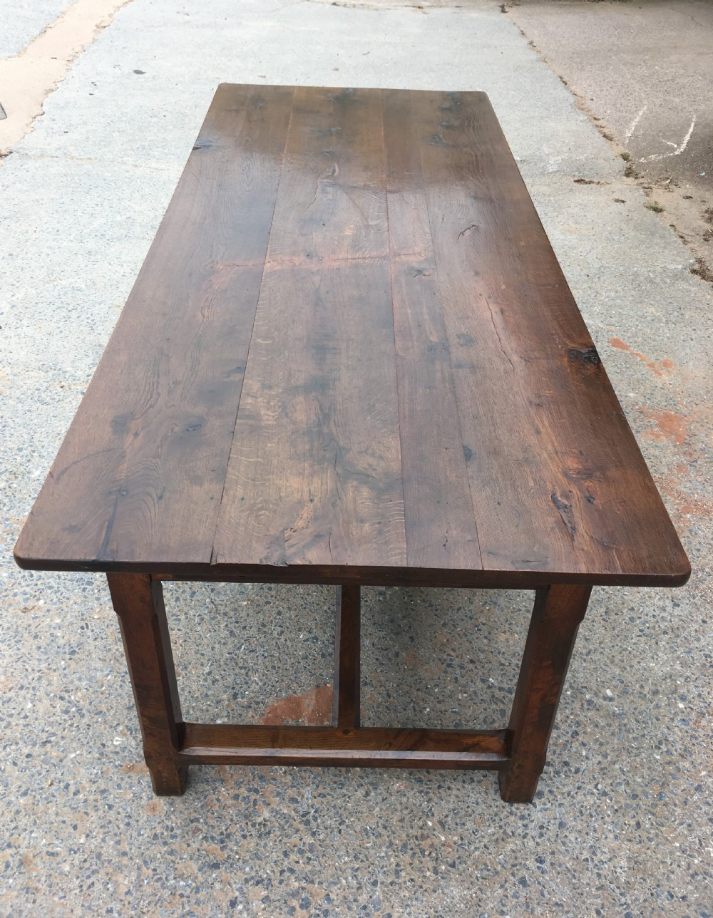 oak farmhouse table with 3 drawers