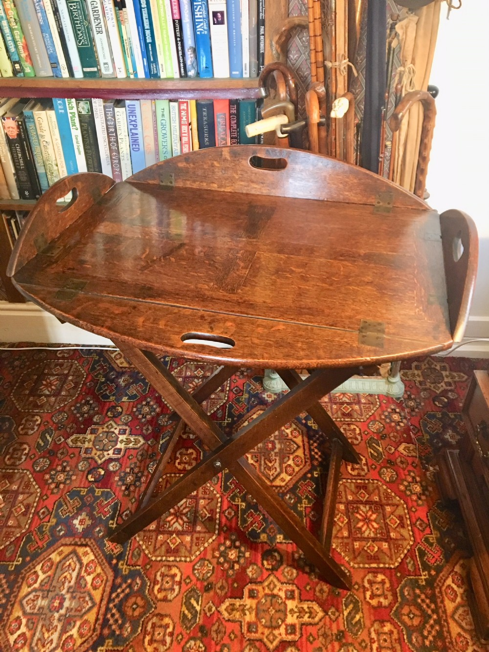 oak butlers tray on stand english c 1800