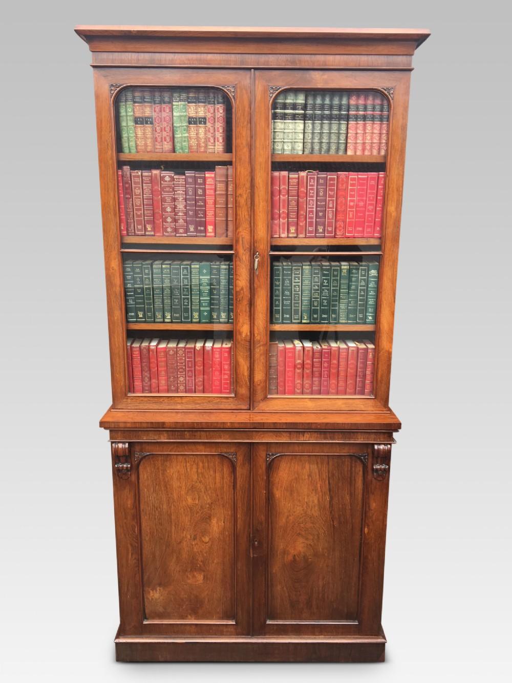 rosewood bookcase of slim size english c 1850
