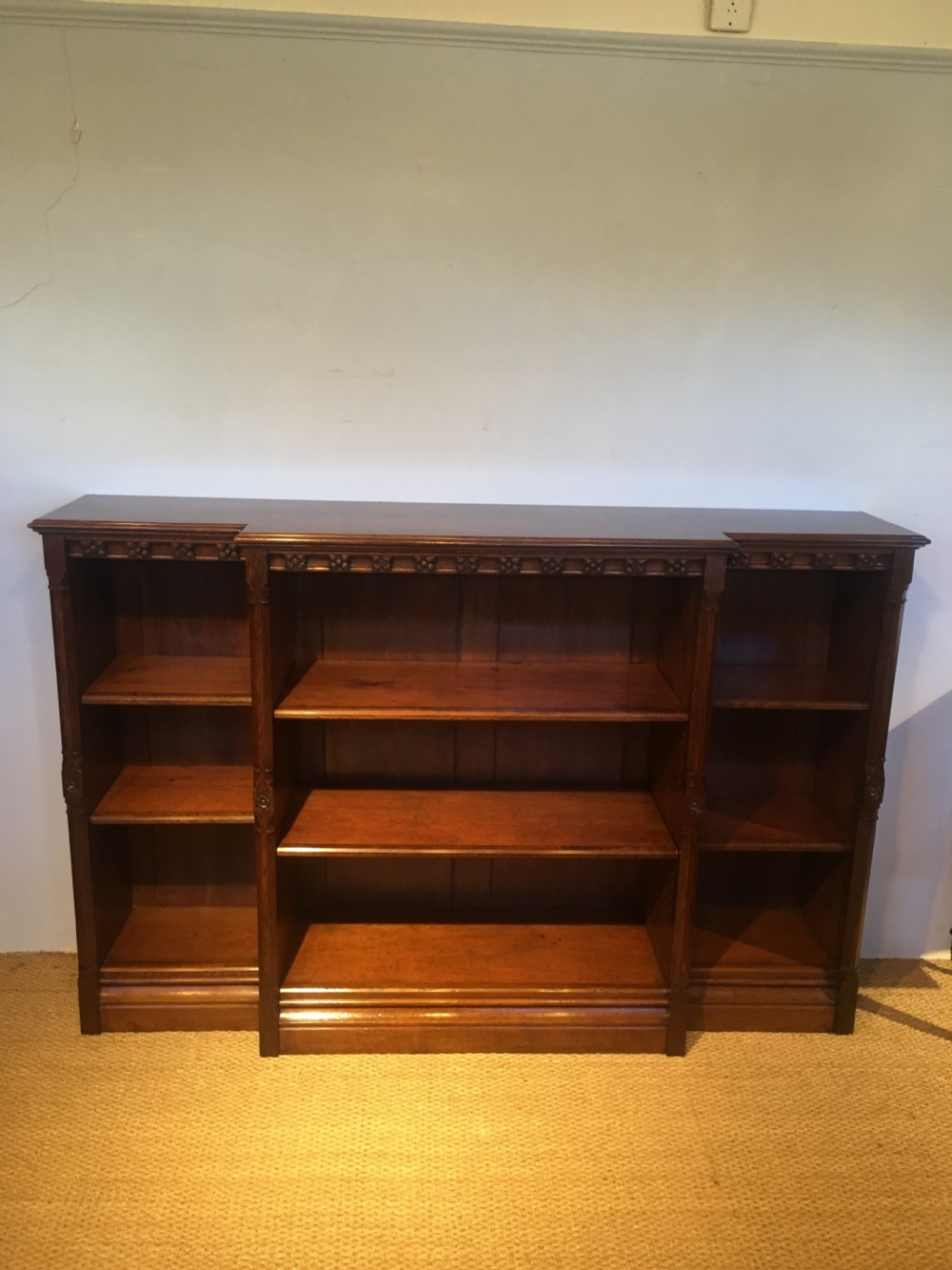 victorian gothic style breakfront bookcase