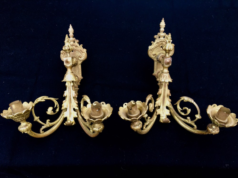 gilded wall lamps french c 1920'