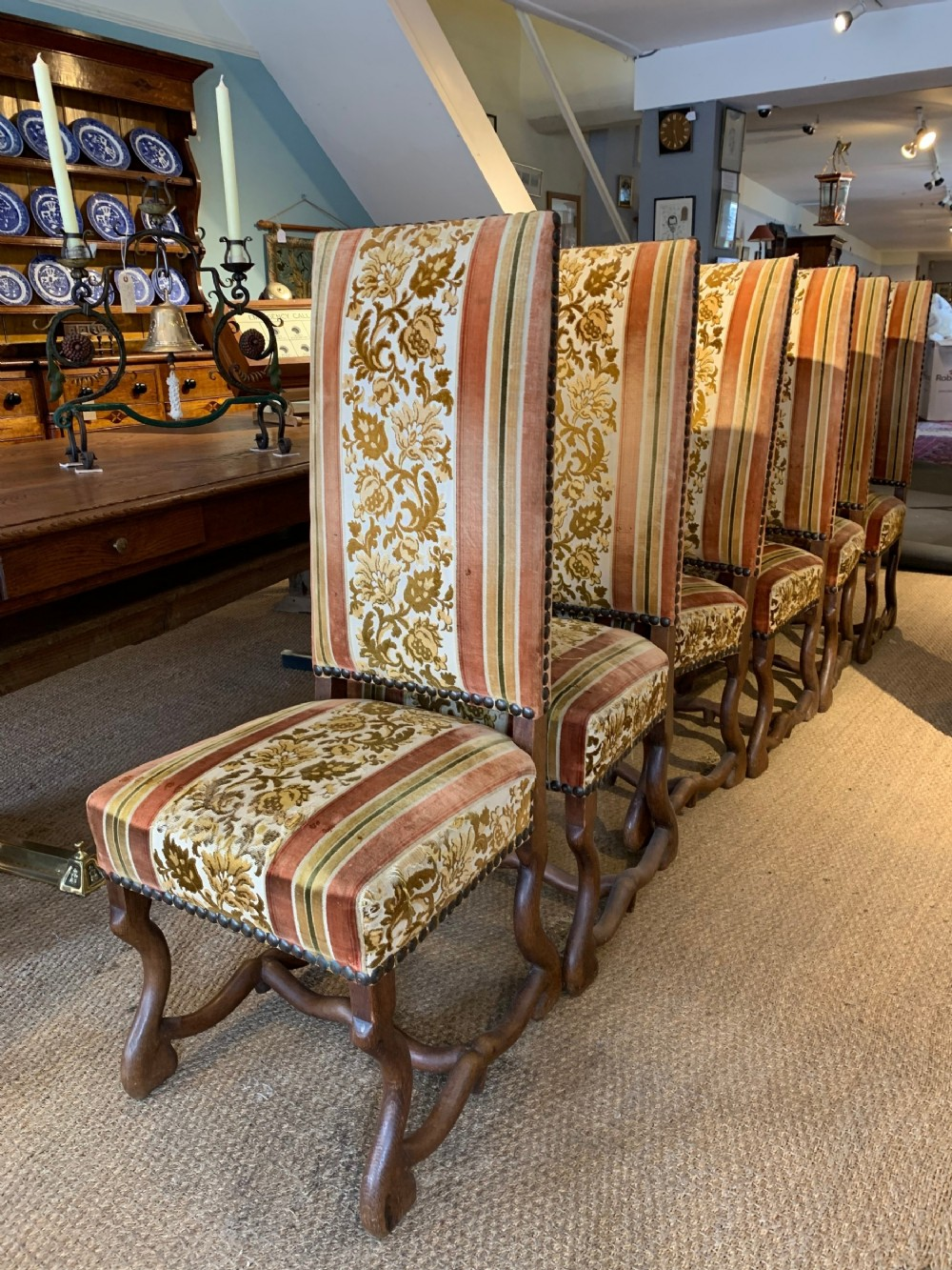 set of six high back dining chairs