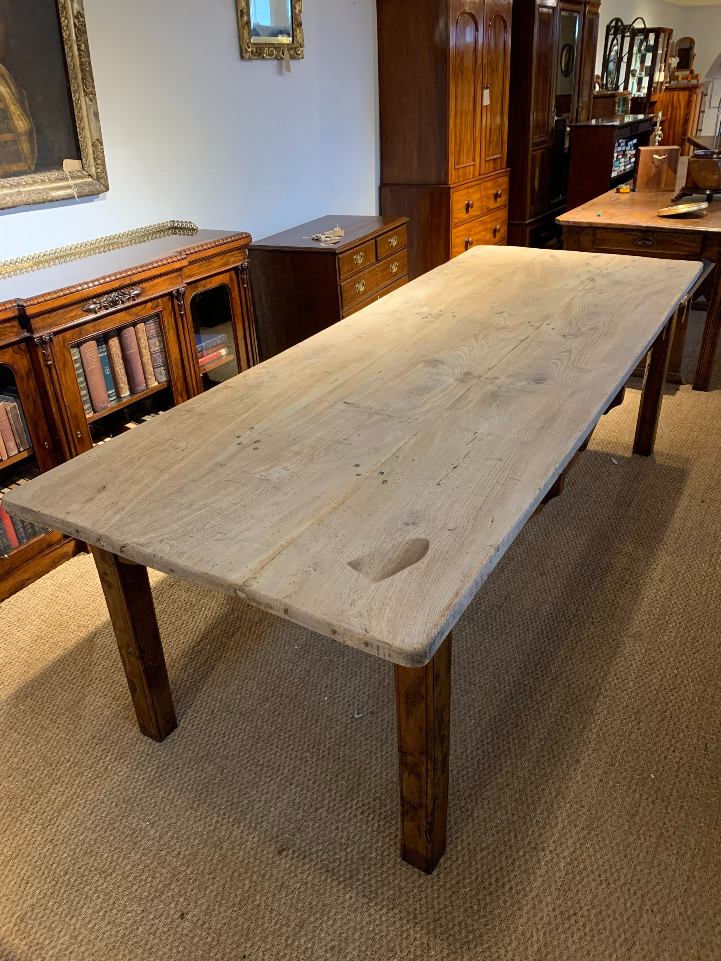 large elm scrubbed topped farm table