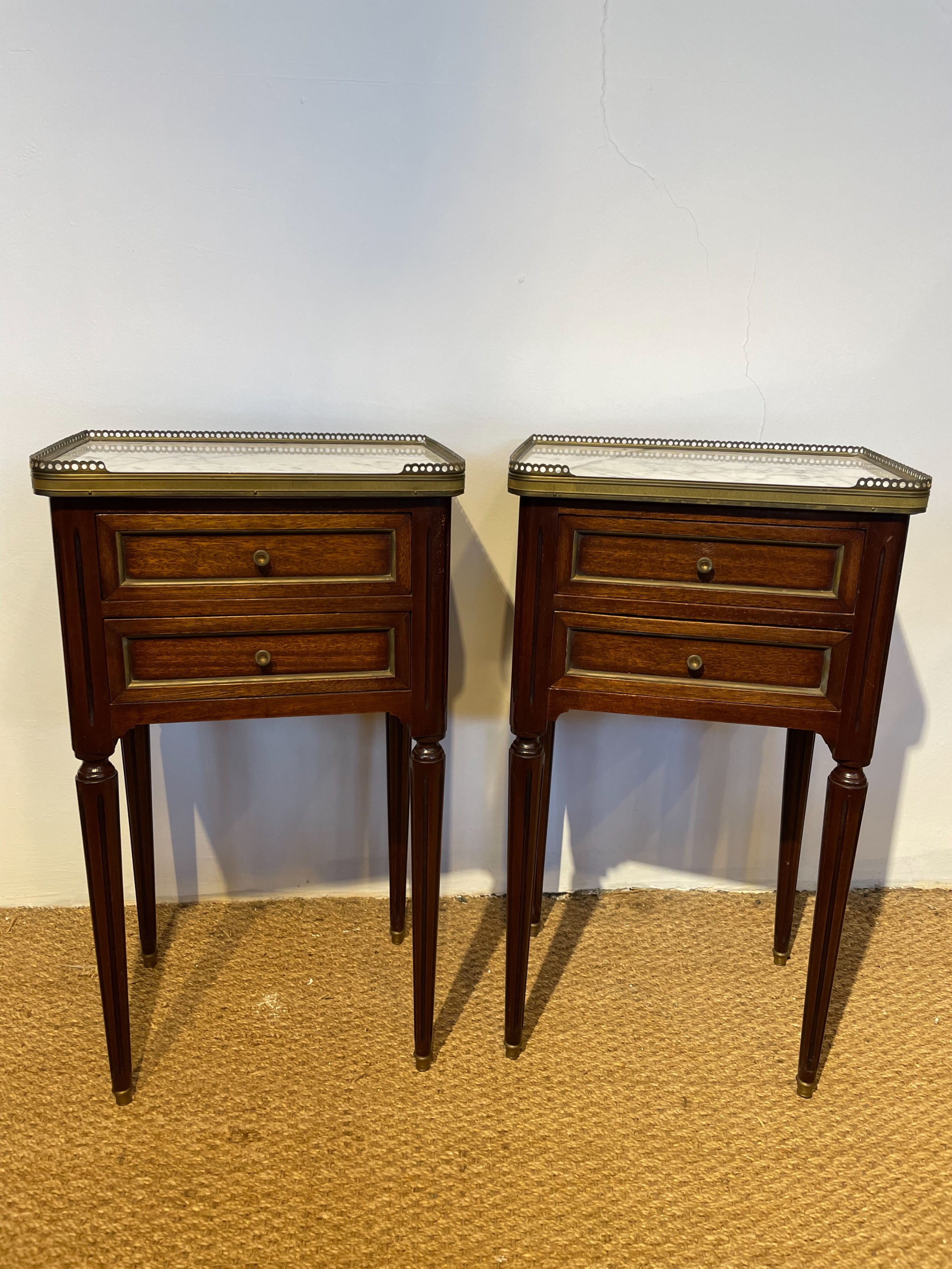 neat pair of mahogany bedside cabinets