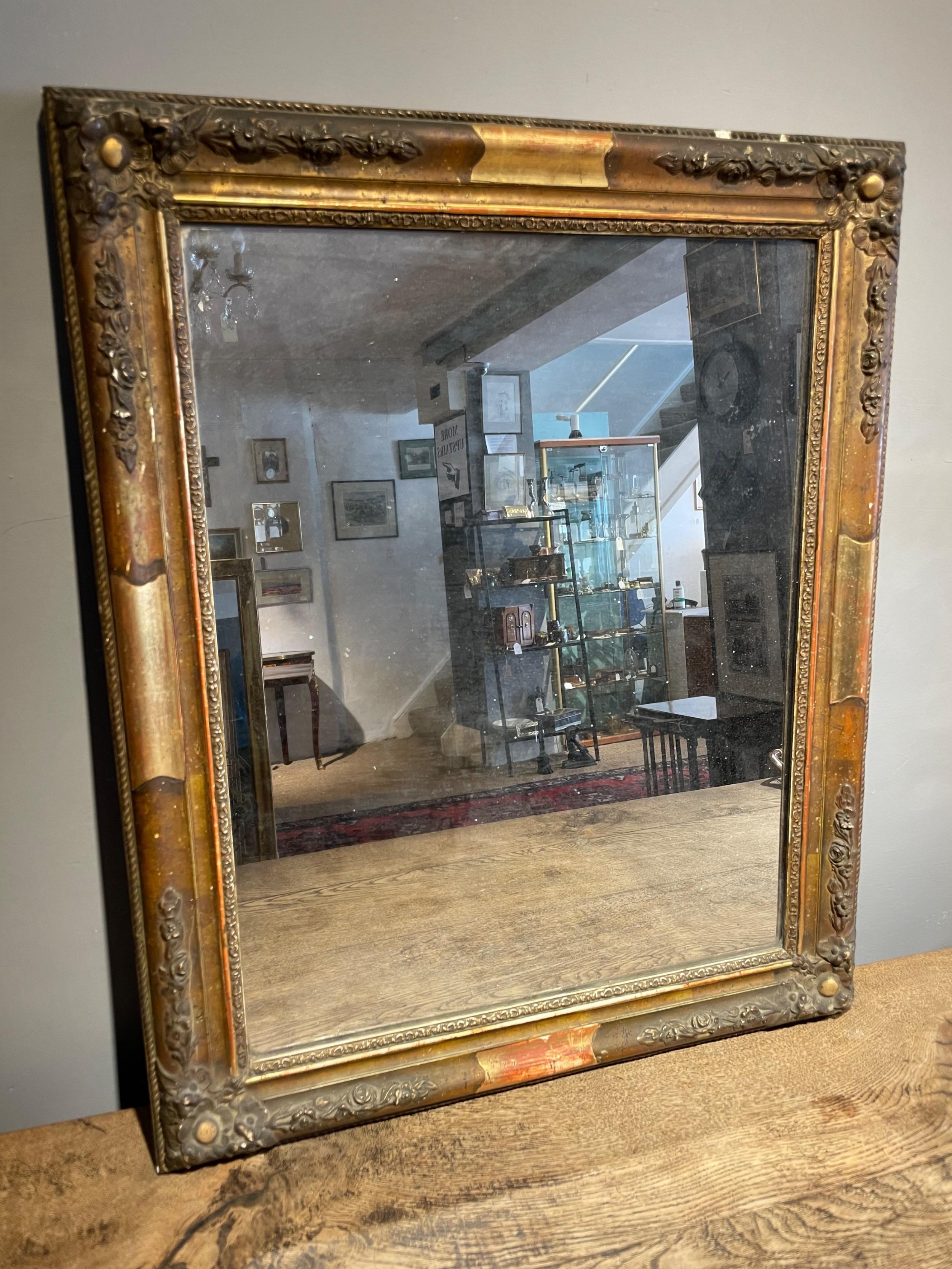 small antique gilt mirror 28x225