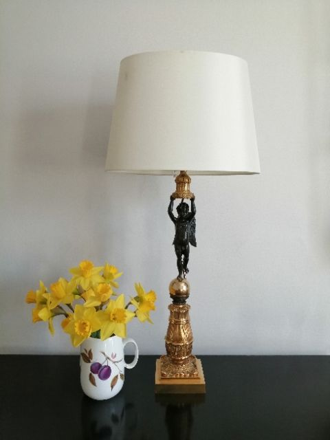 a superb quality french brass and bronze table lamp
