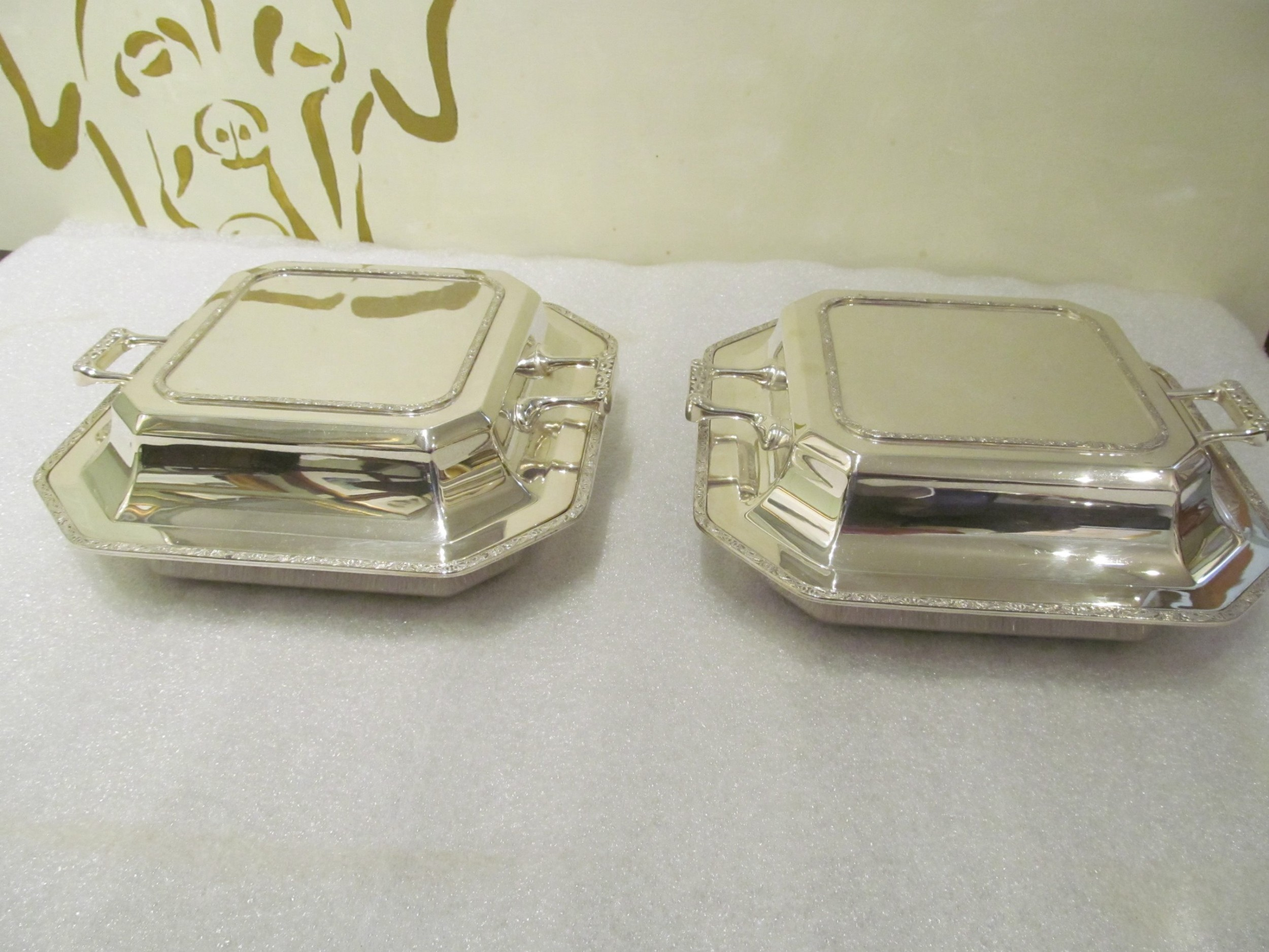 pair of outstanding quality silver plated entree dishes
