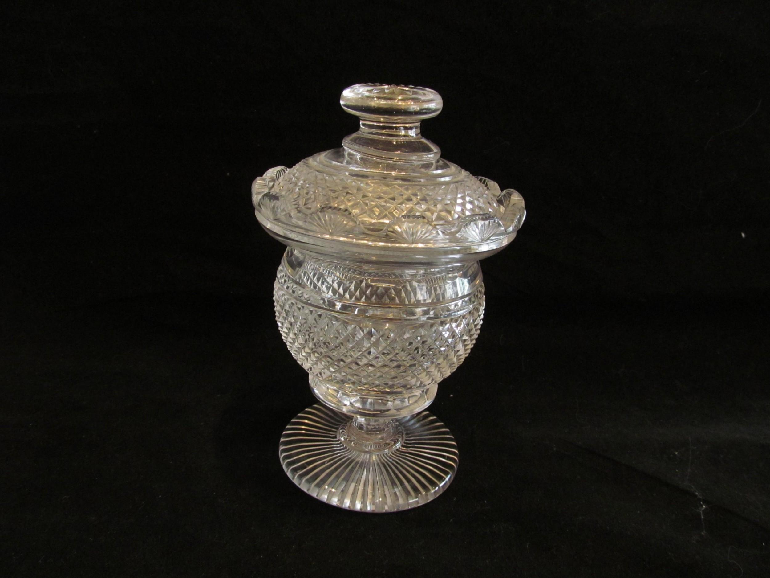 irish regency cut glass honey jar