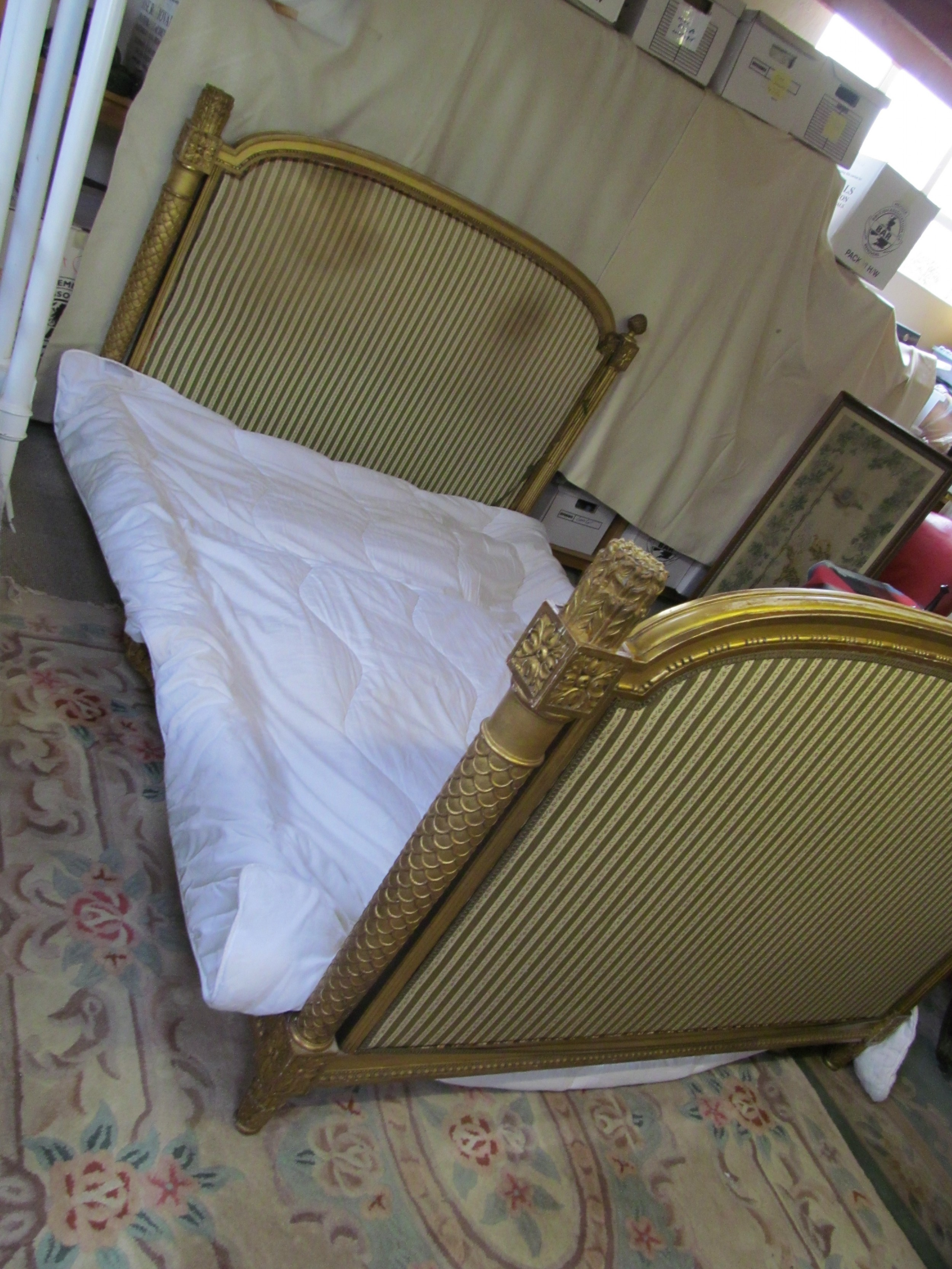 a stunning 19th century french gilded double day bed
