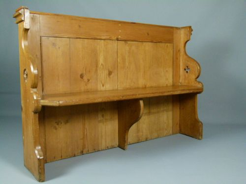 Victorian gothic carved pine settle bench