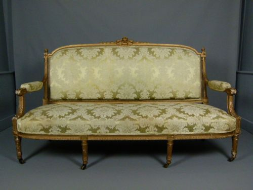 elegant french louis xvi revival giltwood sofa