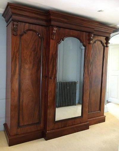 victorian mahogany mirrored triple wardrobe