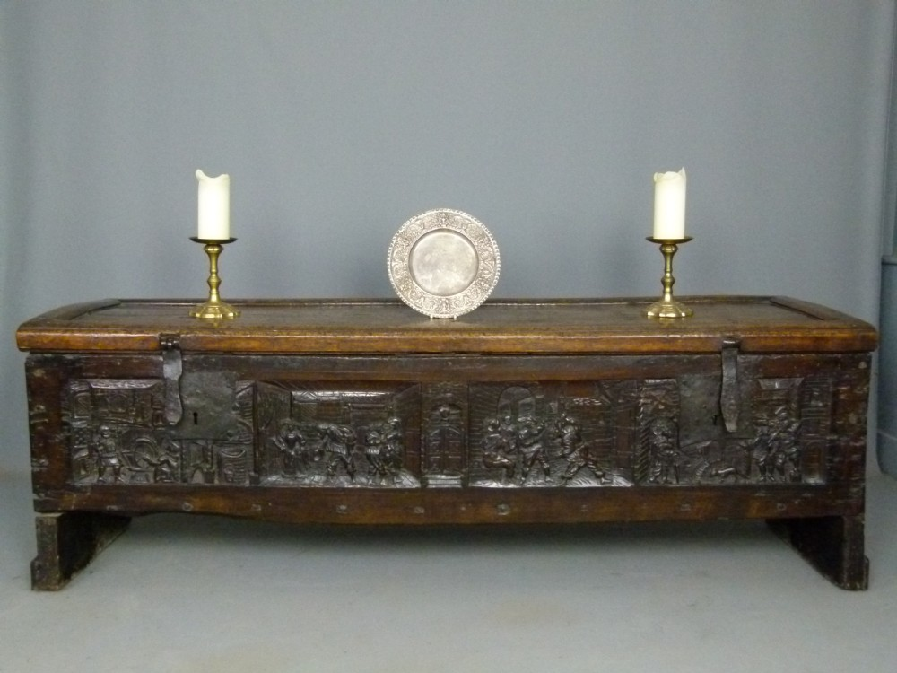 spectacular early 16th century oak parish chest coffer