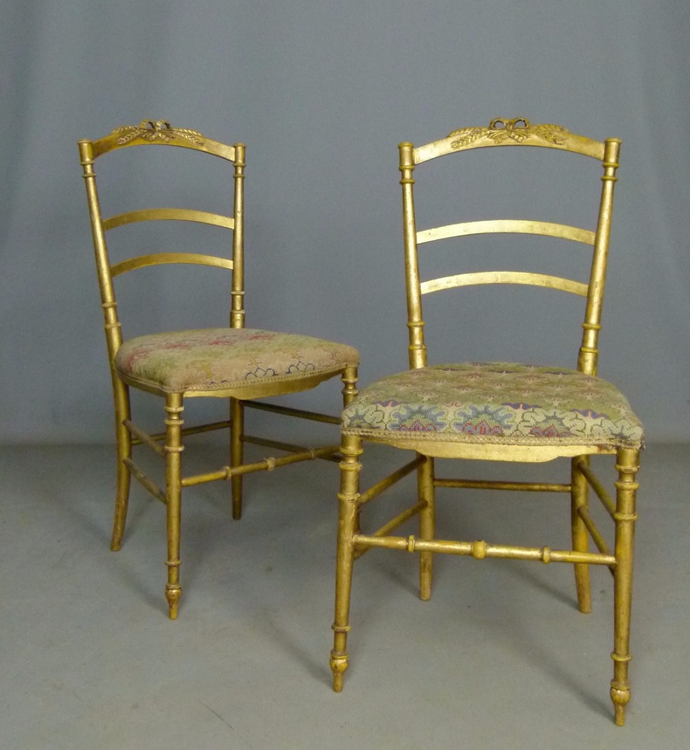 pretty pair of french giltwood side bedroom chairs