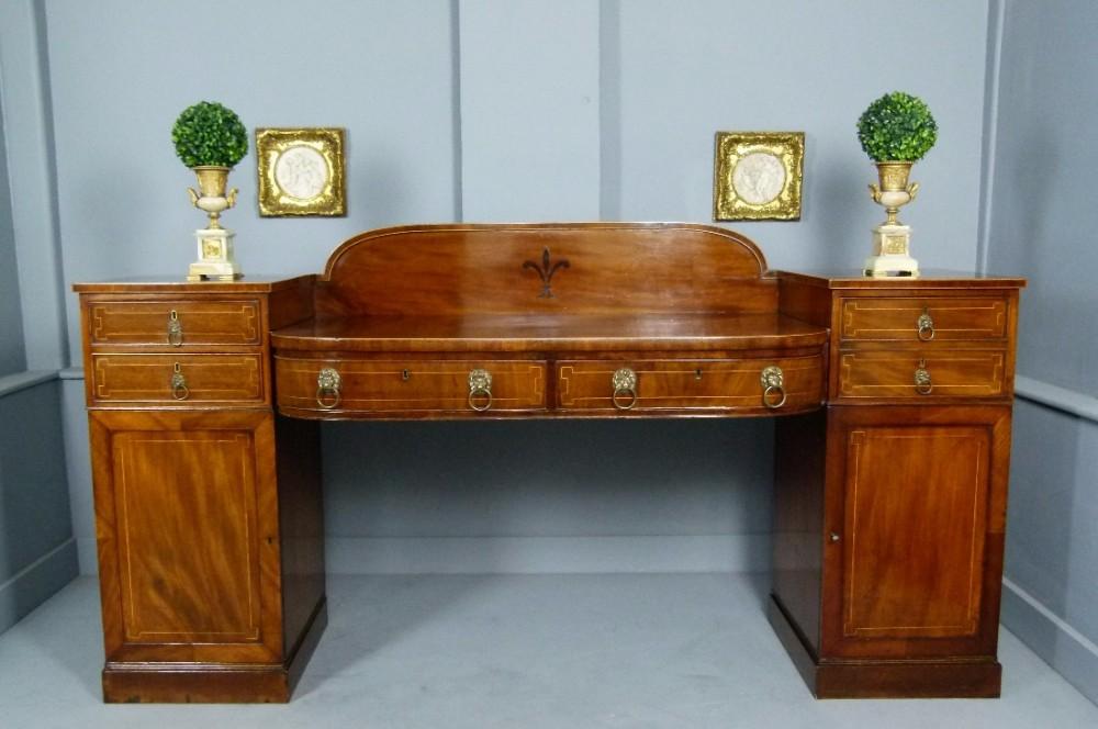superb regency mahogany pedestal sideboard
