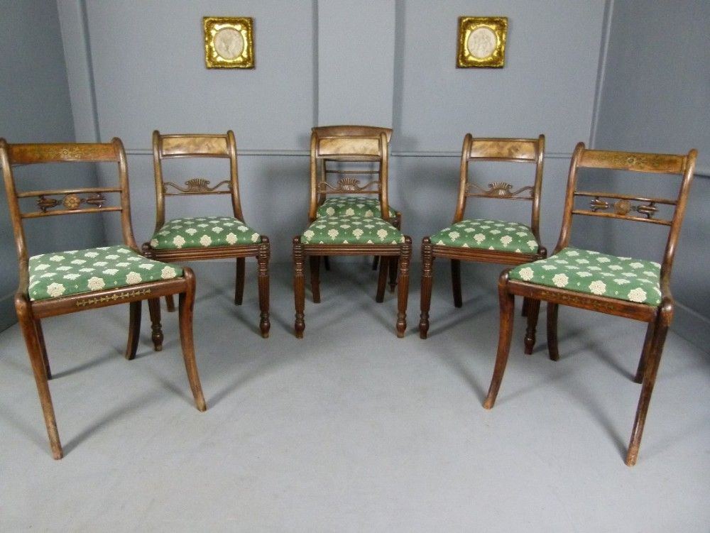 fine harlequin set of six regency pale rosewood dining chairs