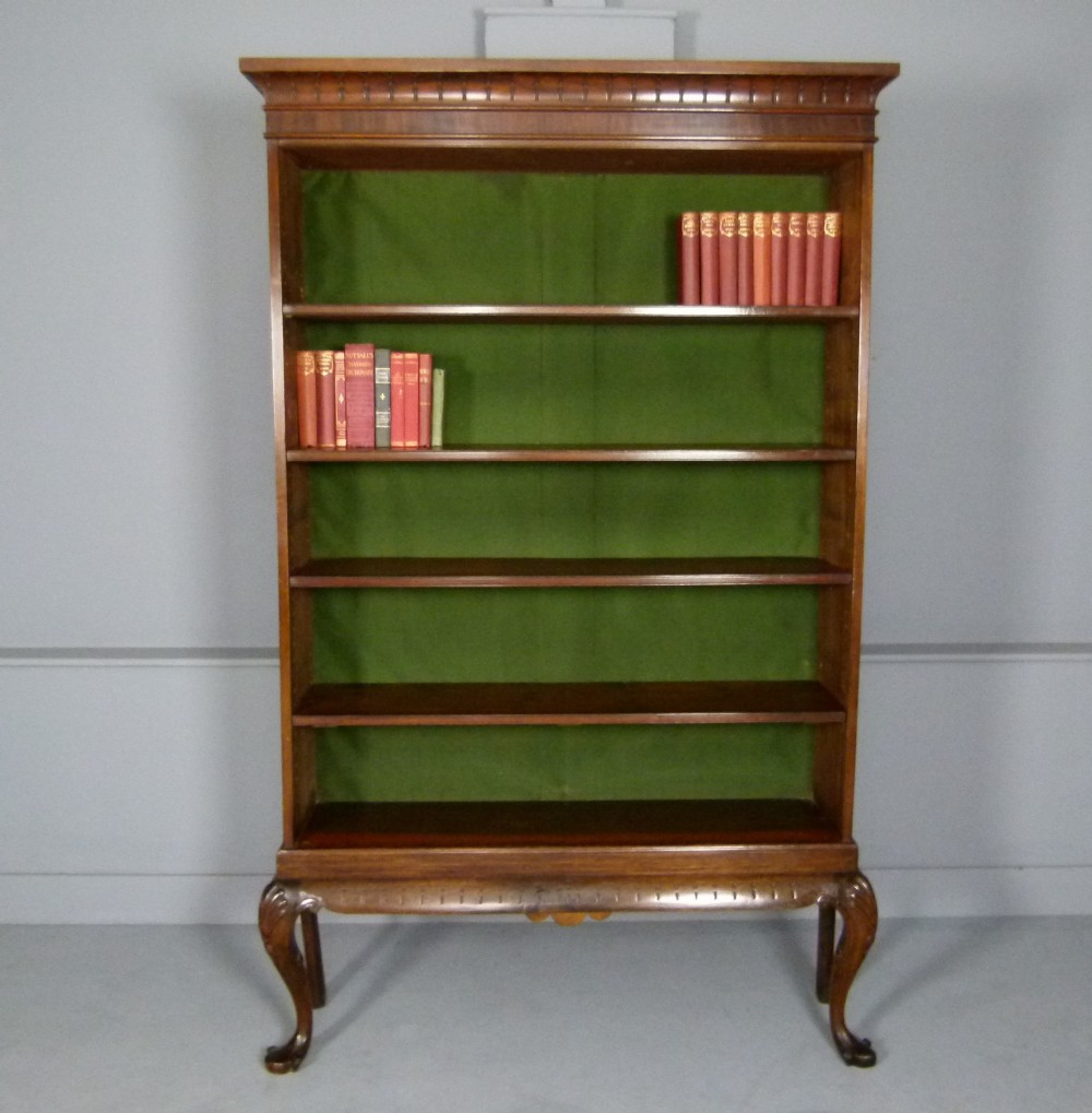 elegant victorian mahogany open bookcase