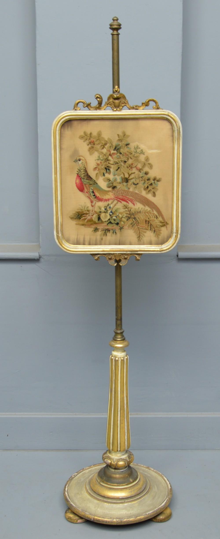regency parcel gilt tapestry pole fire screen