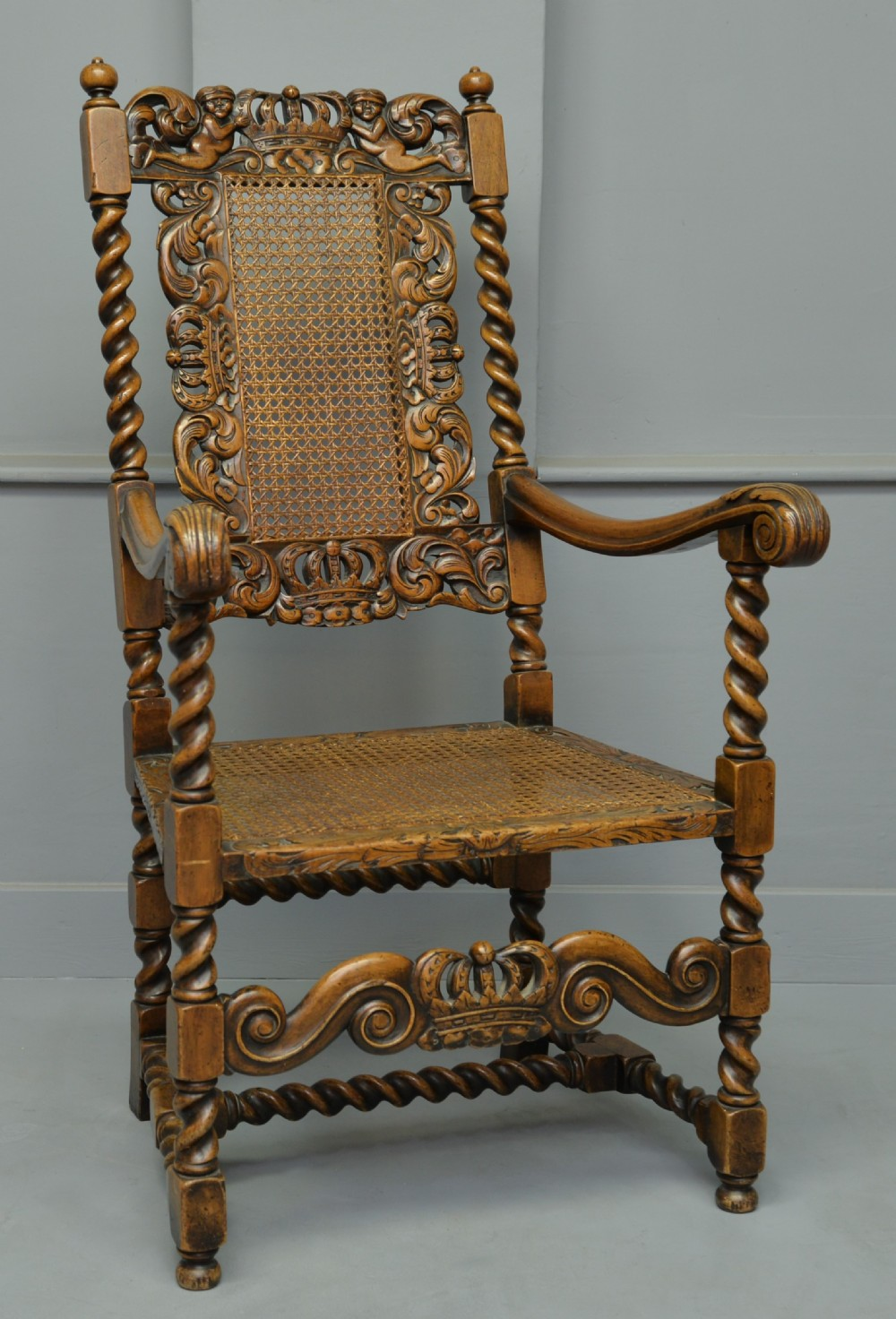 carolean revival carved walnut armchair