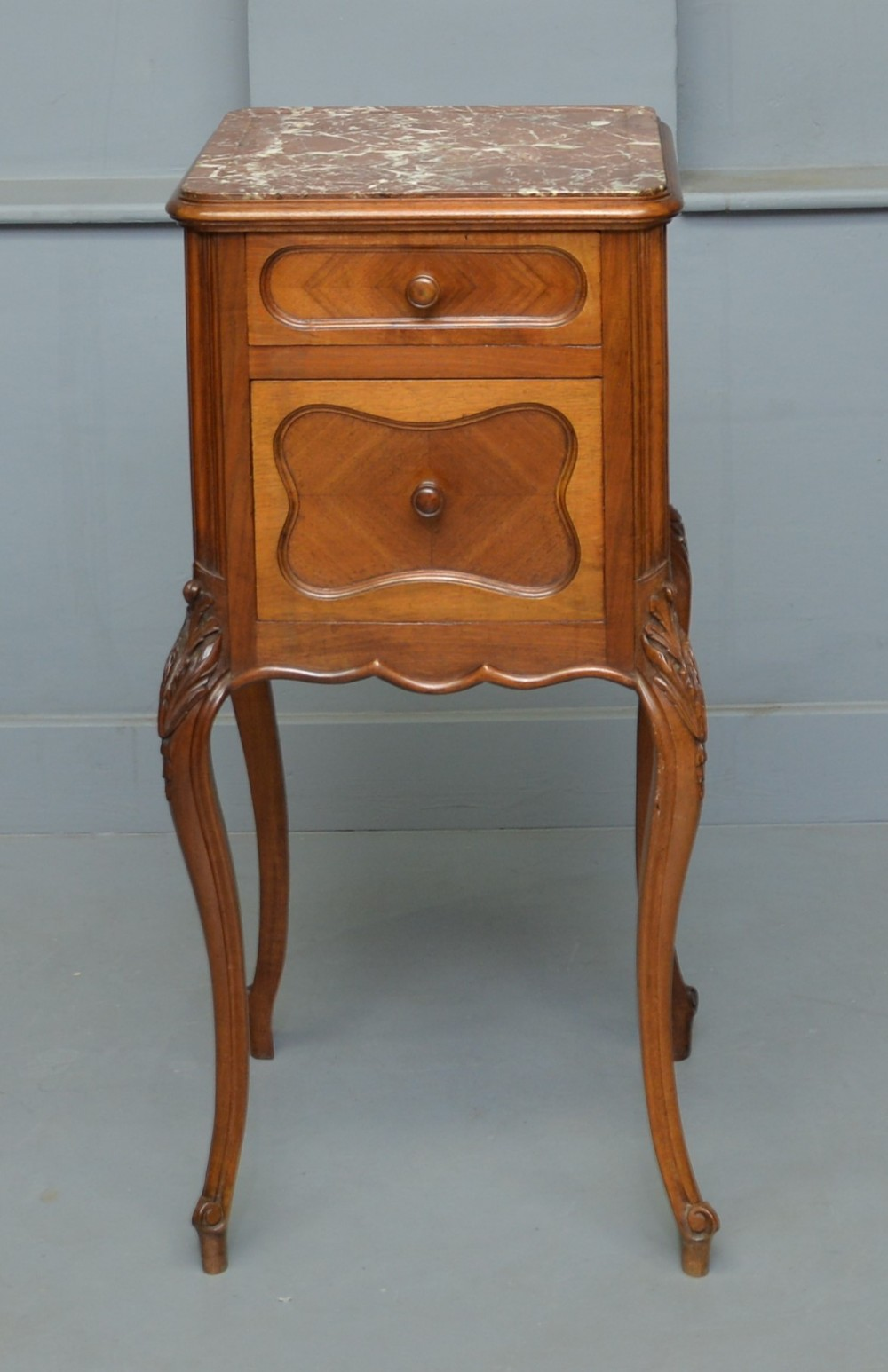 pretty french walnut bedside marbletop cabinet