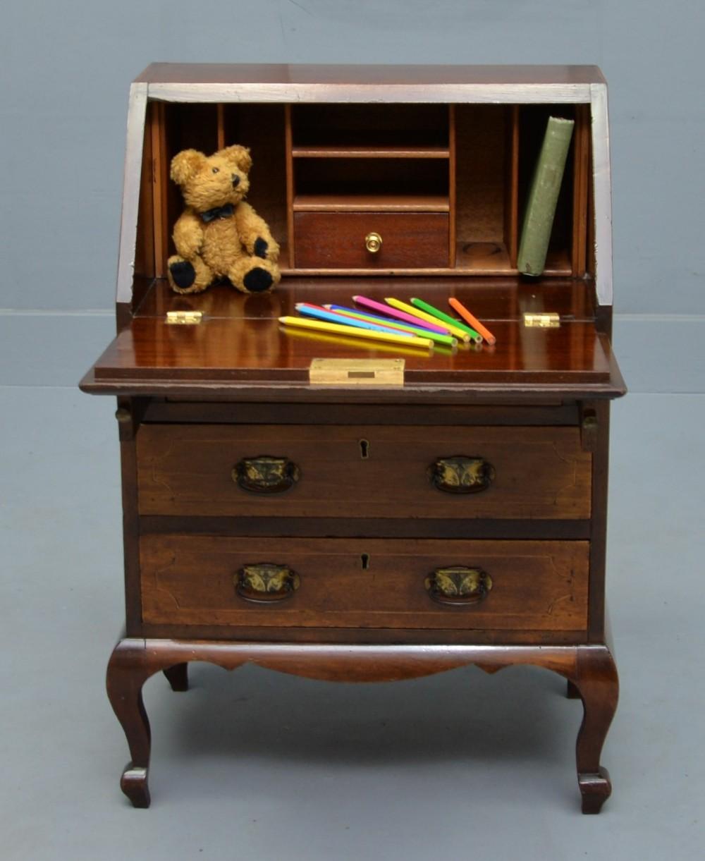 rare edwardian mahogany marquetry childs bureau desk