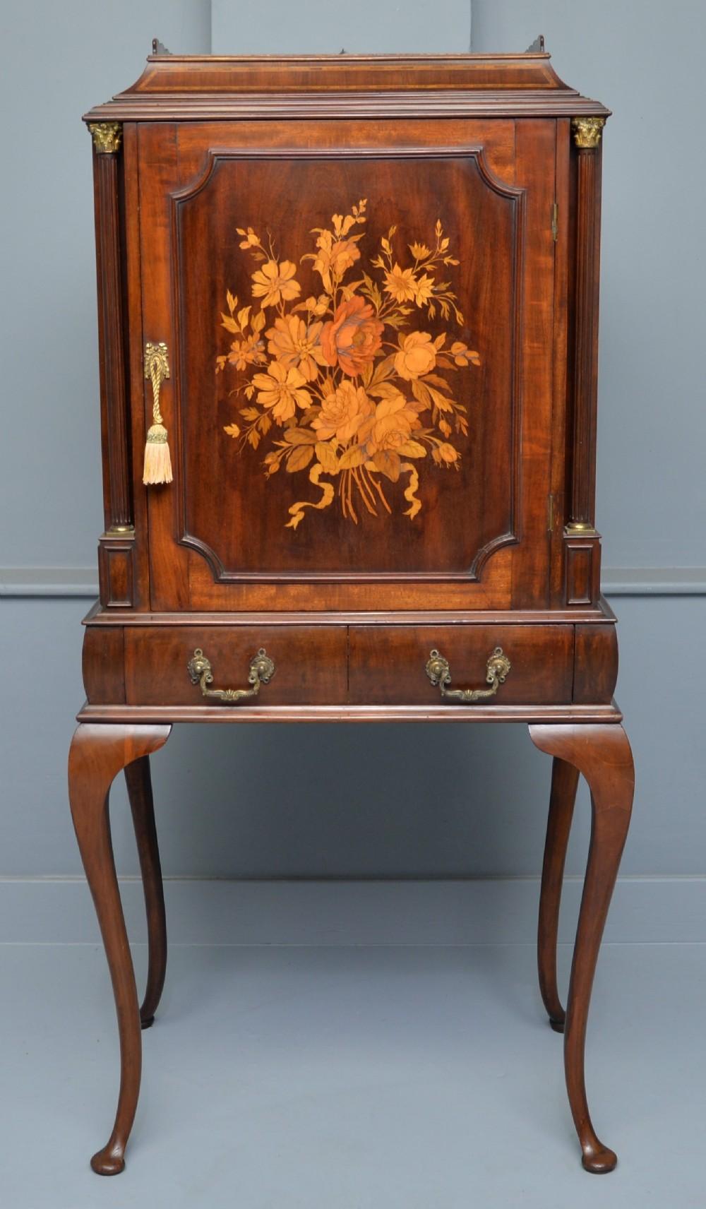 fine edwardian mahogany marquetry cabinet