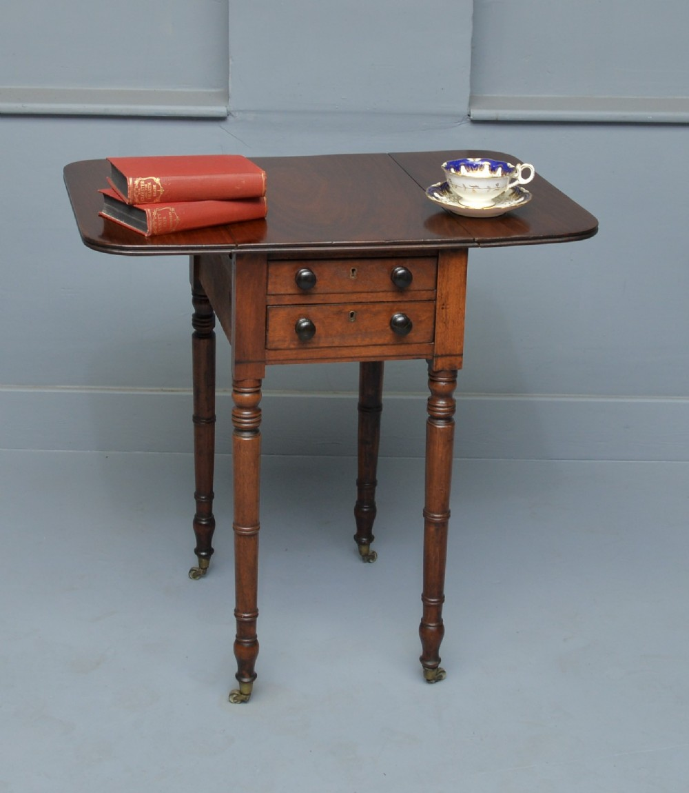 elegant regency mahogany pembroke work lamp side table