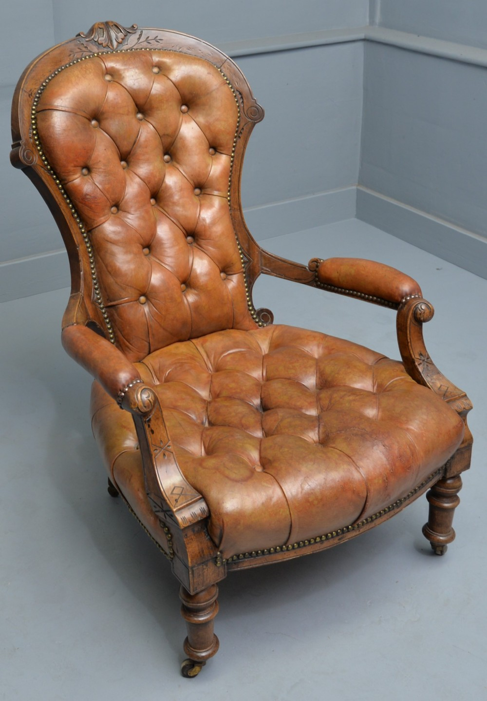 victorian walnut original leather spoonback armchair