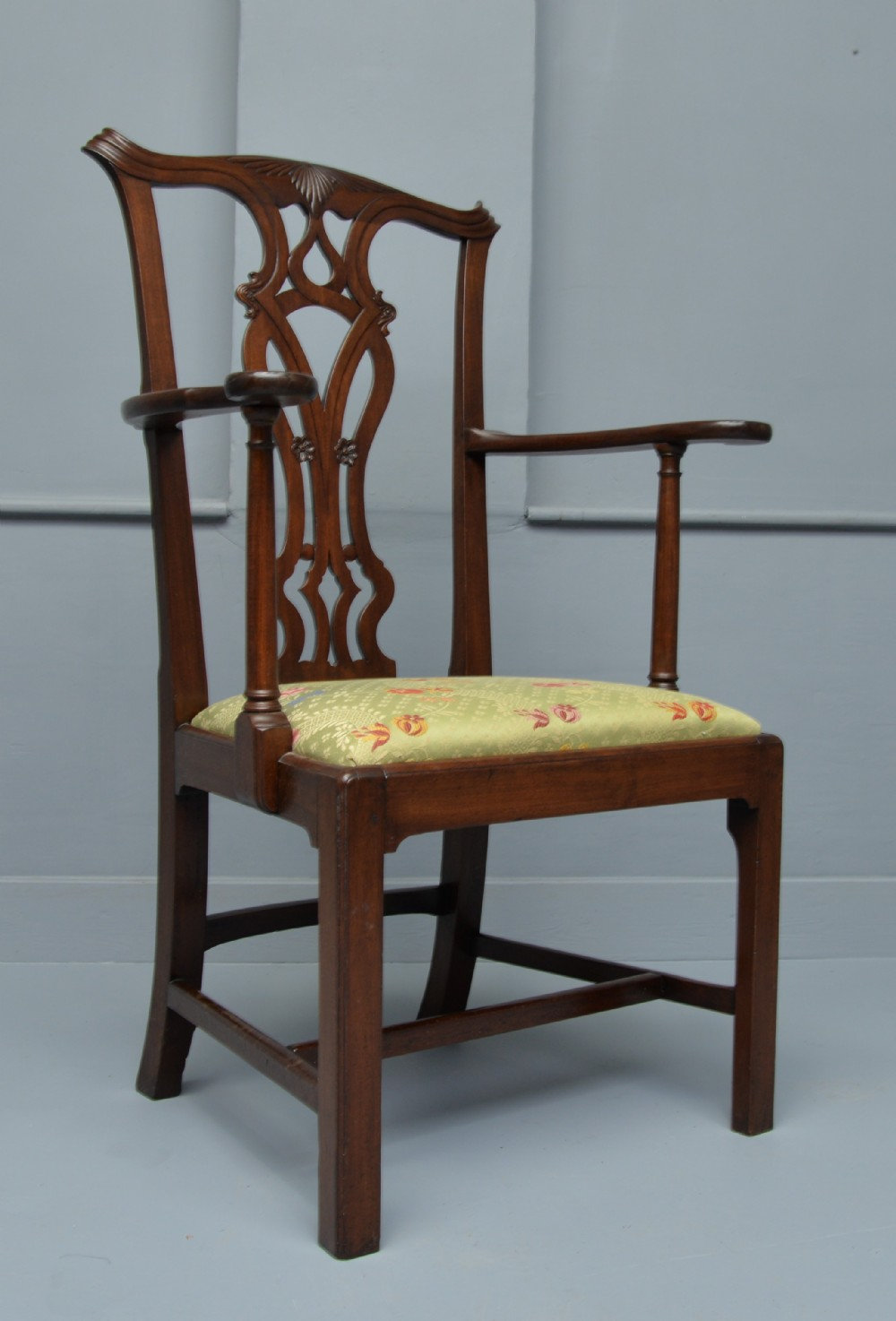 chippendale revival mahogany elbow chair