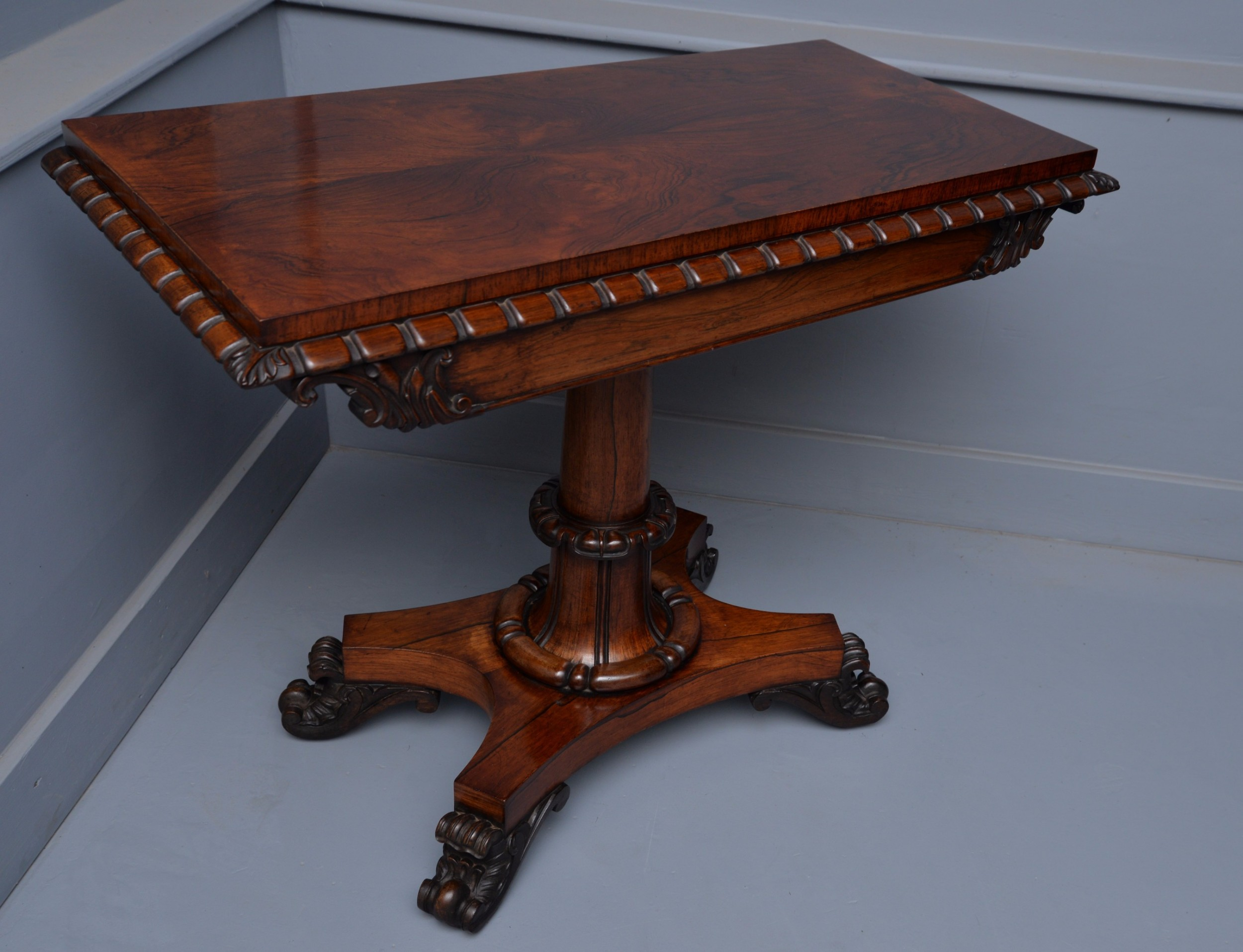 handsome william iv rosewood games side table