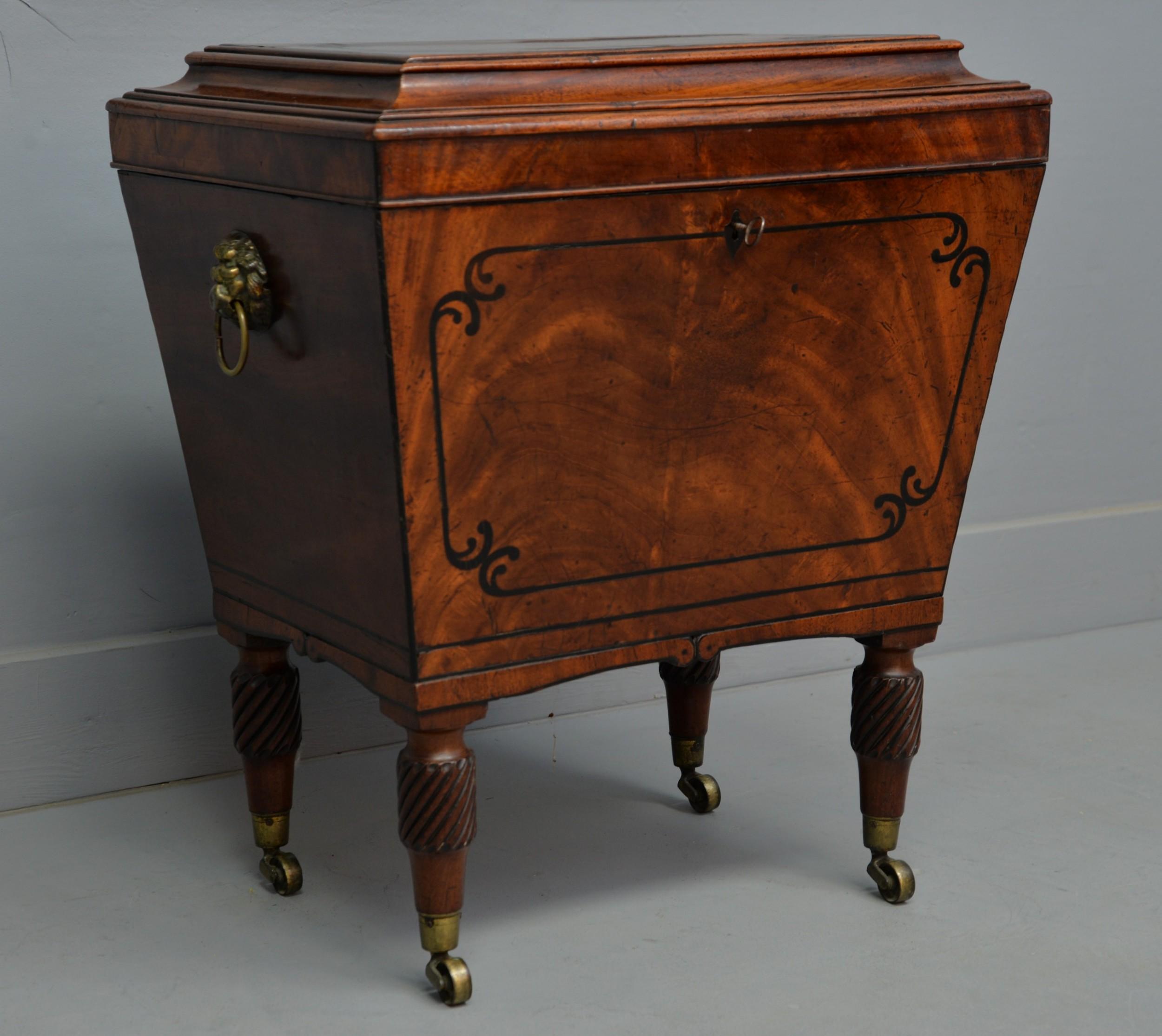 regency mahogany ebony sarcophagus wine cellarette