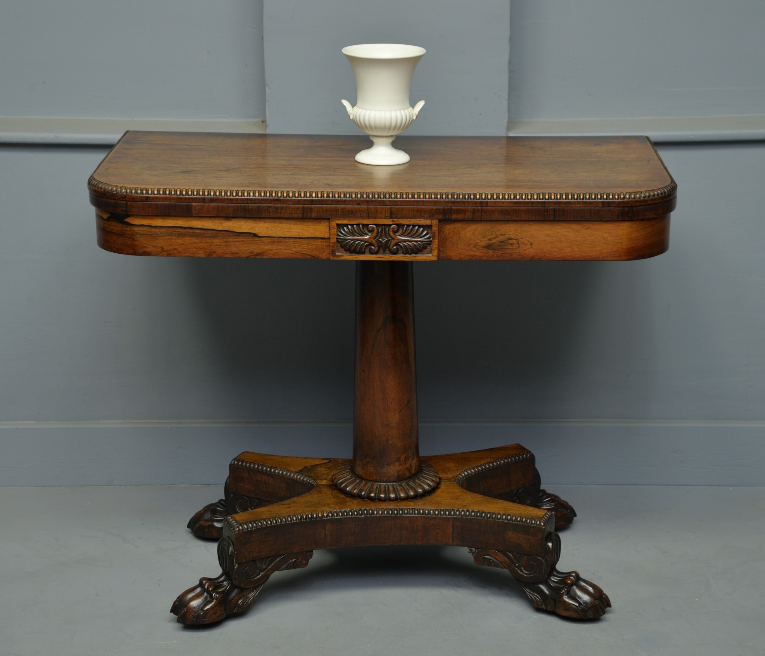 elegant william iv rosewood side games card table