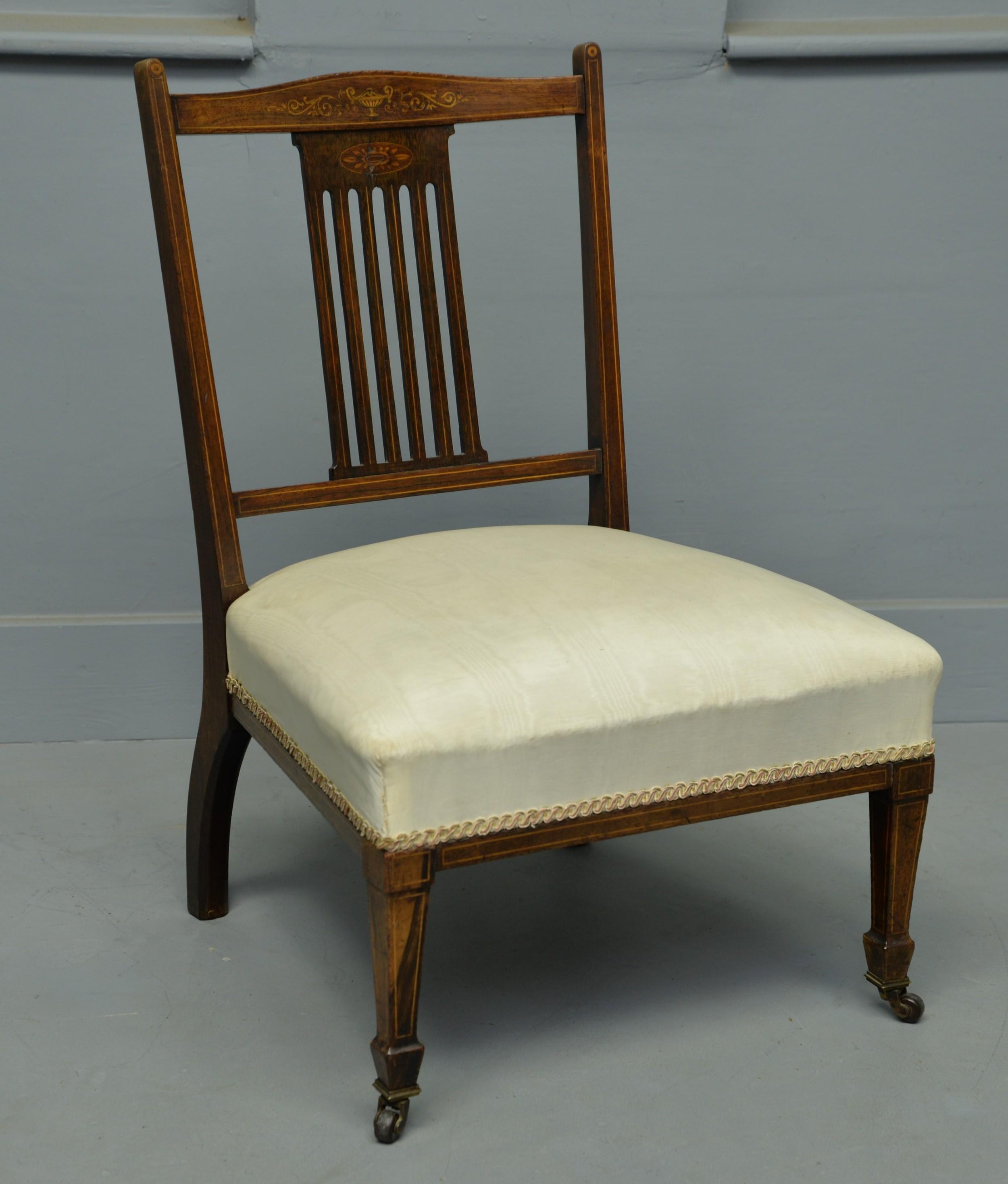 pretty edwardian inlaid rosewood nursing bedroom chair