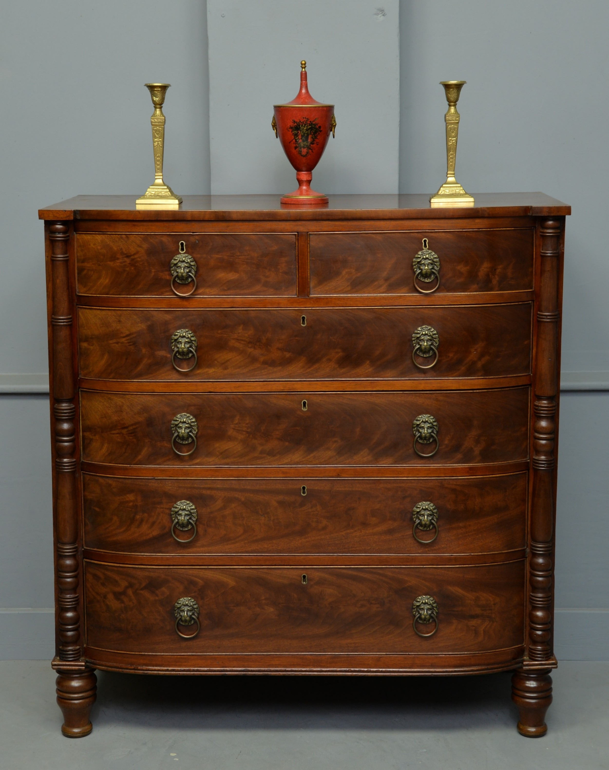 handsome regency mahogany dshaped bowfront chest of drawers