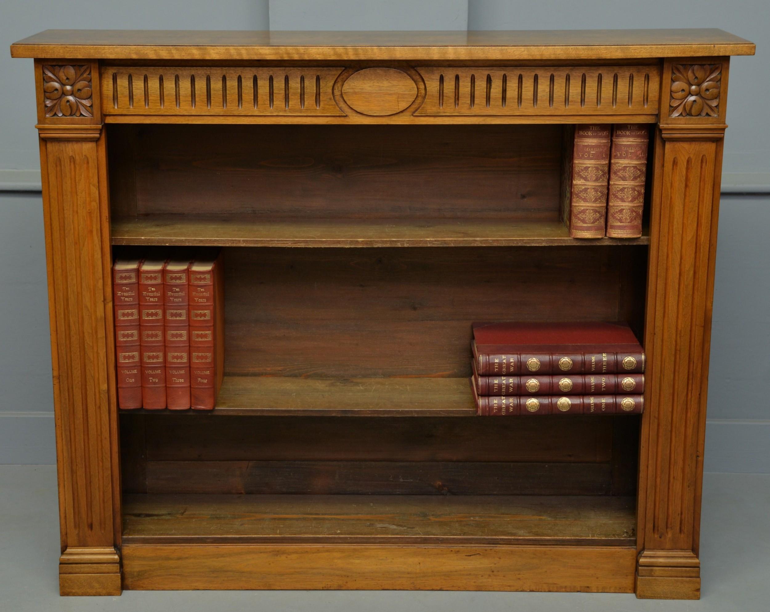 victorian walnut open adjustable bookcase