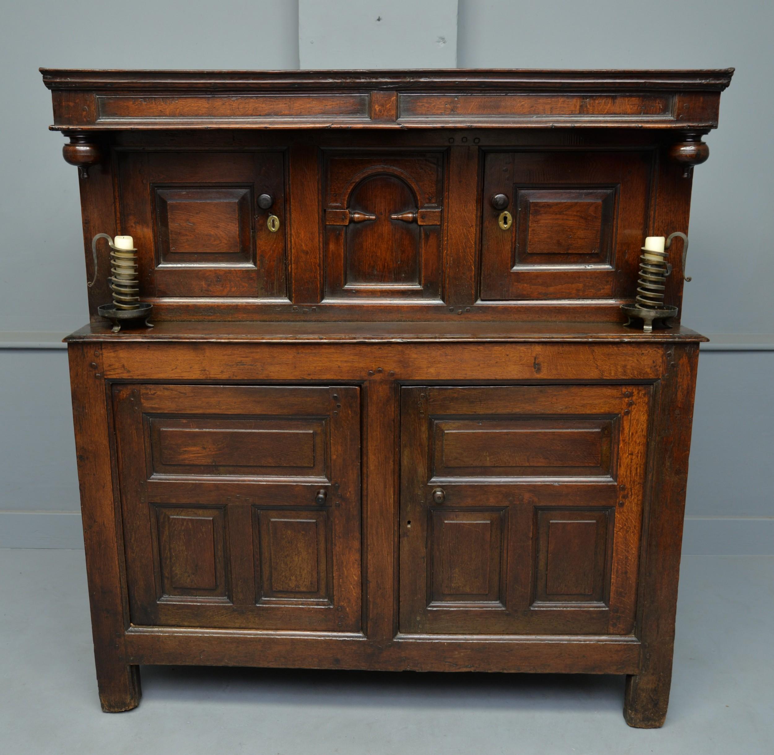 small early 18th century oak cwpwrdd deuddarn or two part cupboard