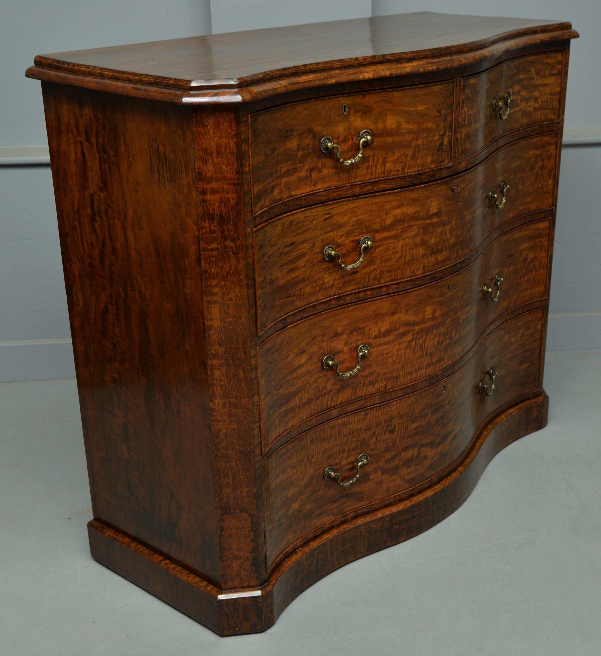 stunning victorian dark birch serpentine chest of drawers
