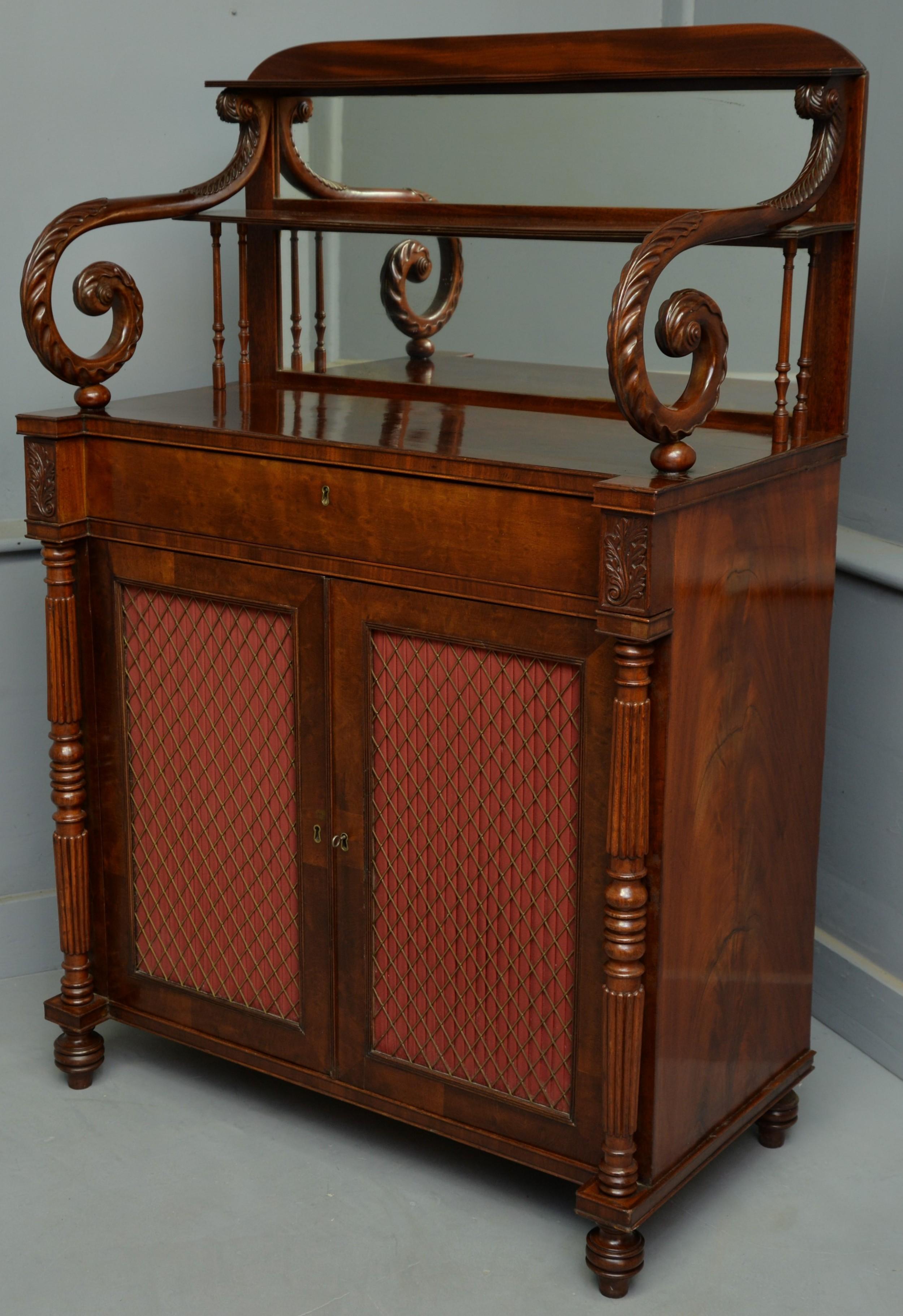 fine regency plumpudding mahogany chiffonier side cabinet