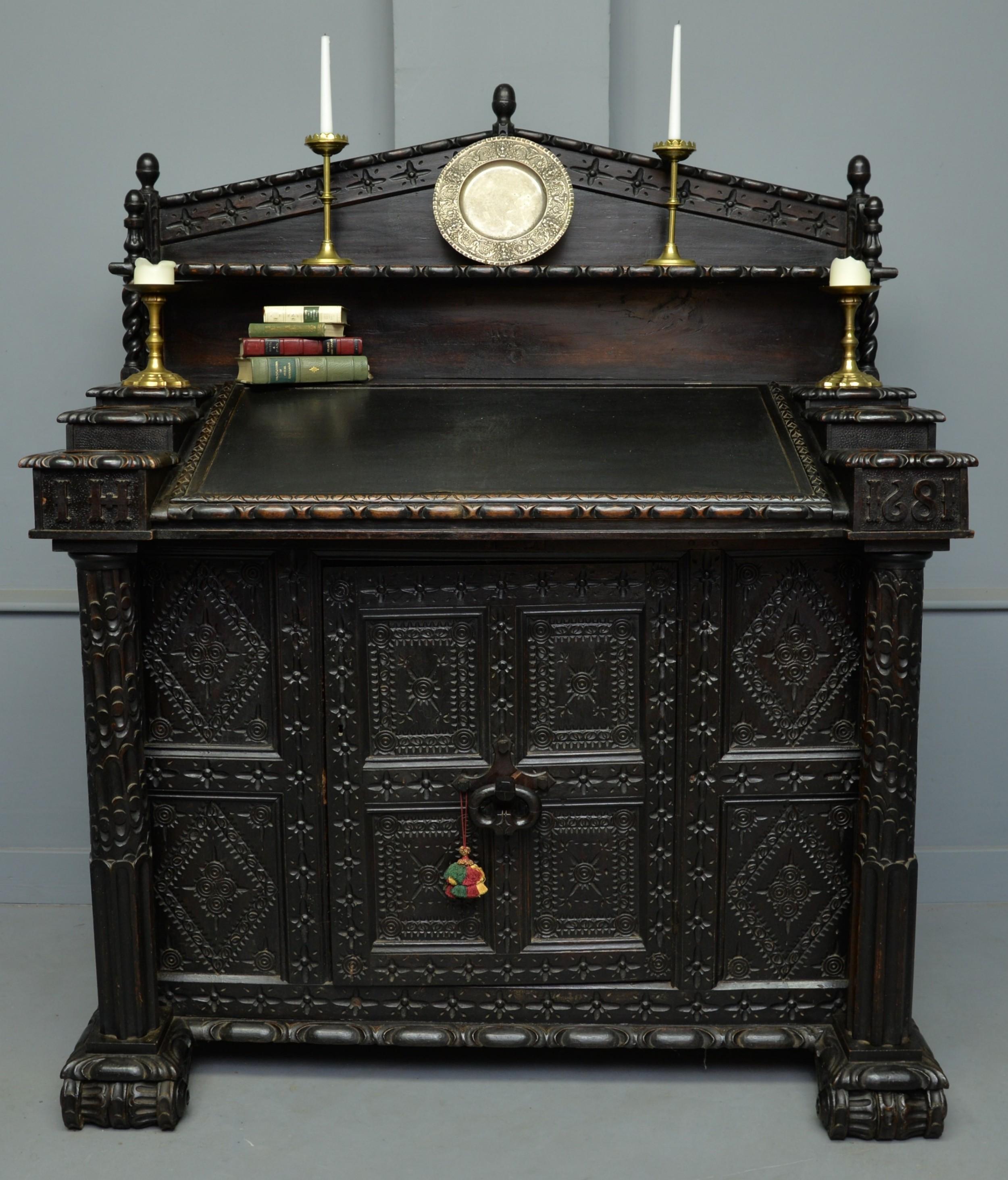 adapted 17th century carved oak cupboard standing bureau