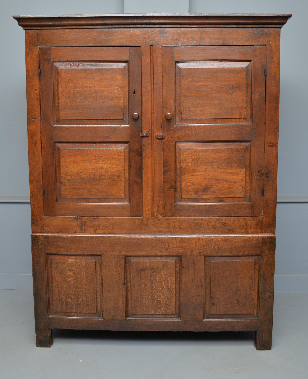 charming 18th century oak two part livery cupboard wardrobe