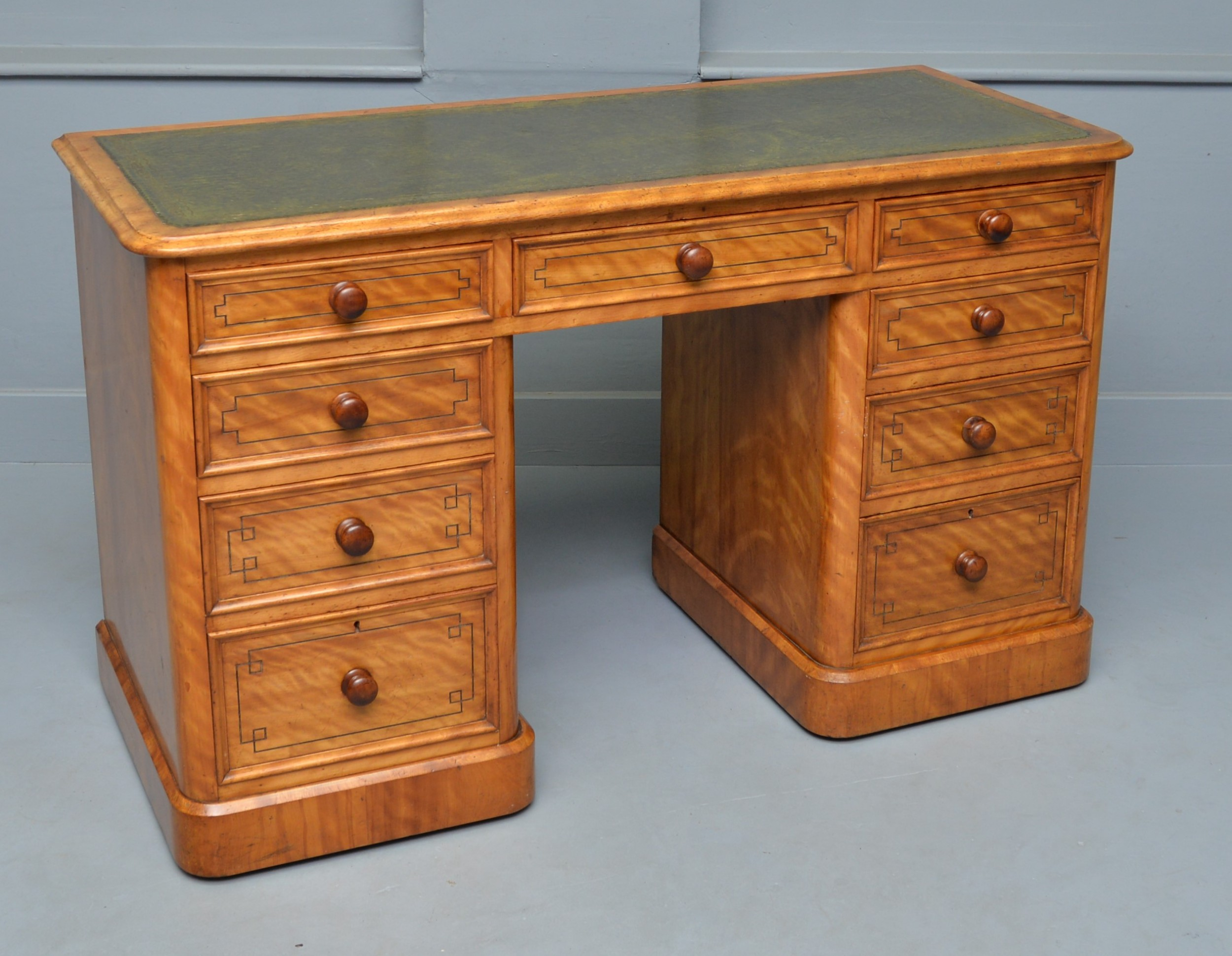 victorian satinwood pedestal desk