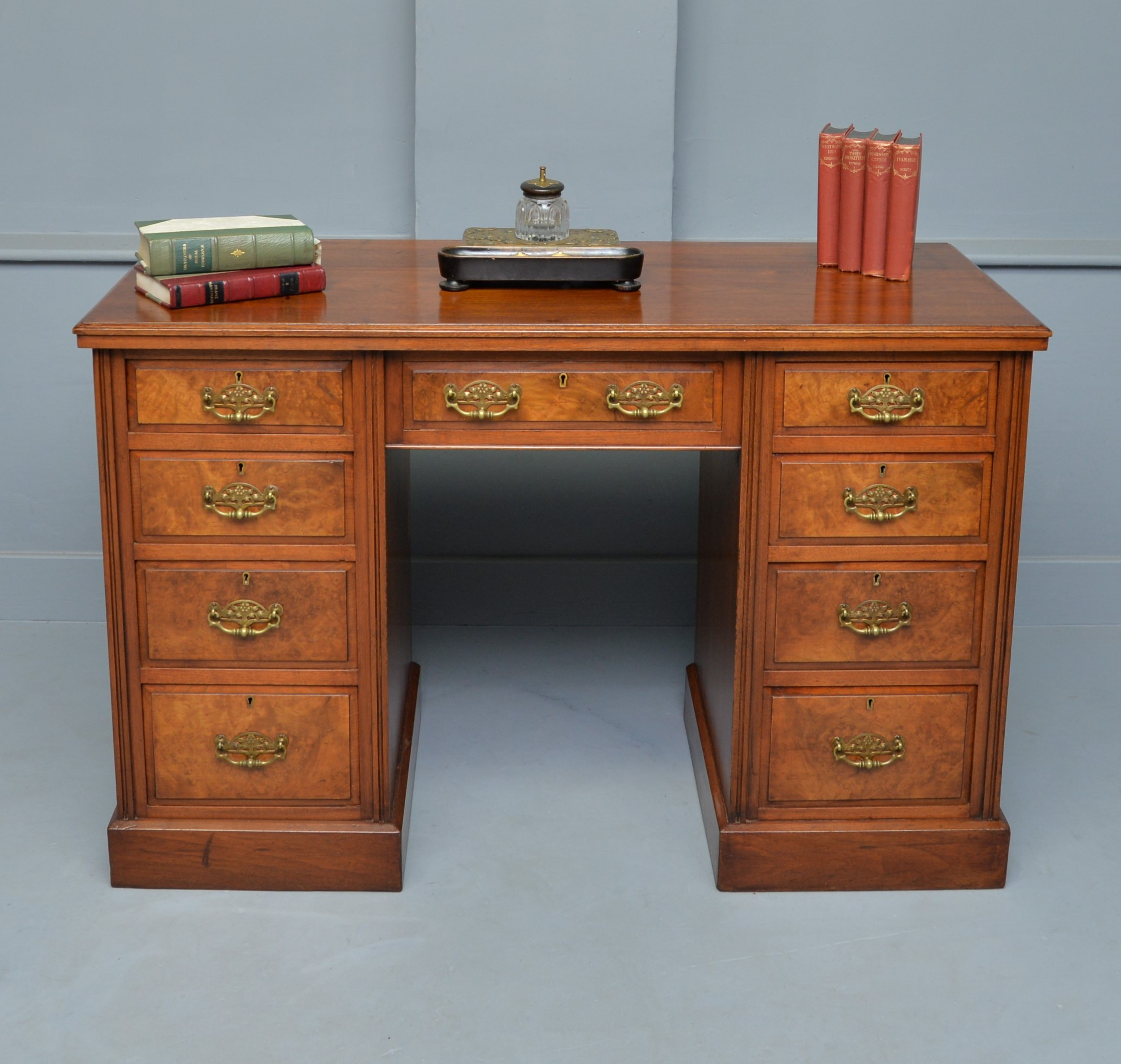 victorian burr walnut pedestal desk