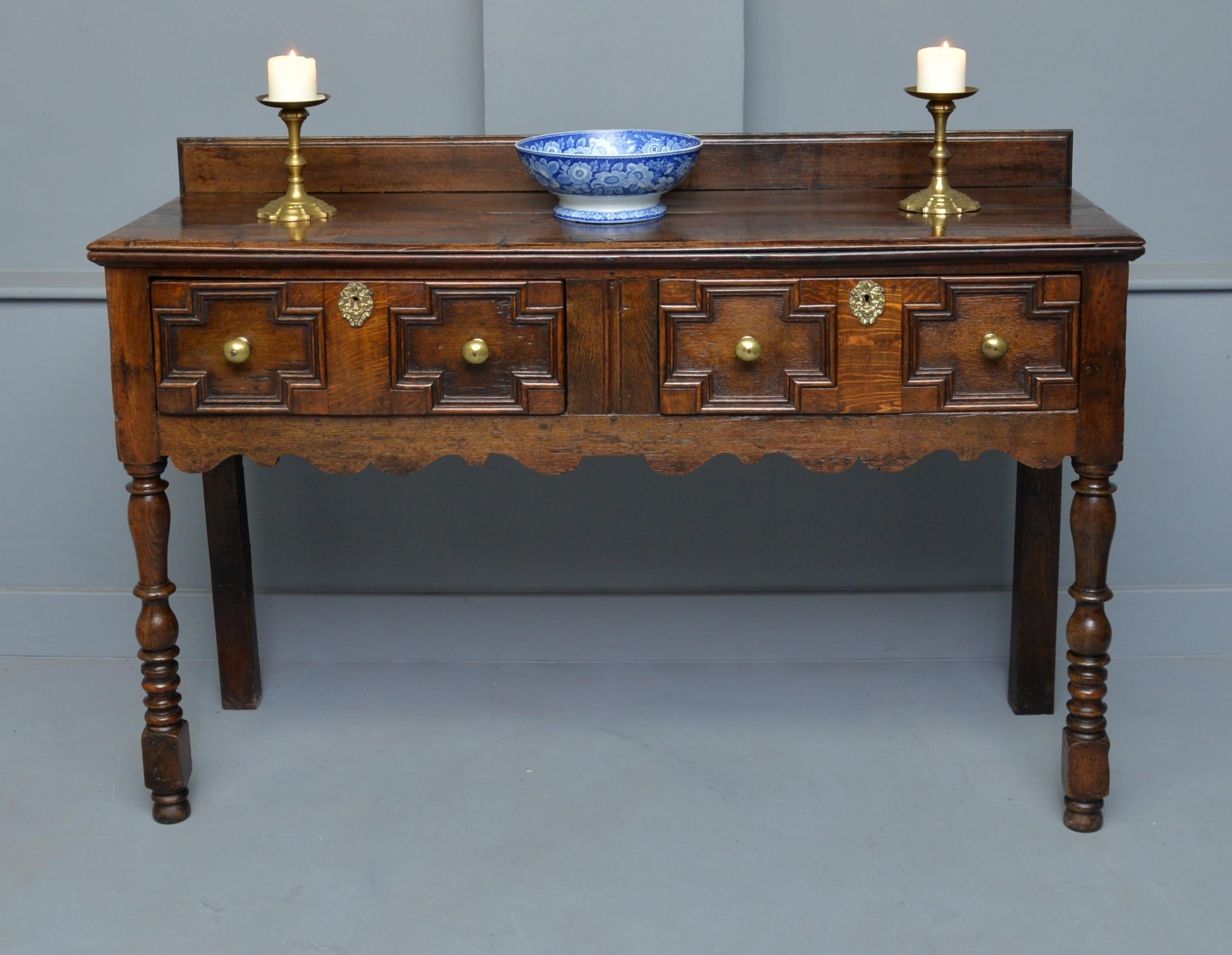 late 17th century small oak dresser