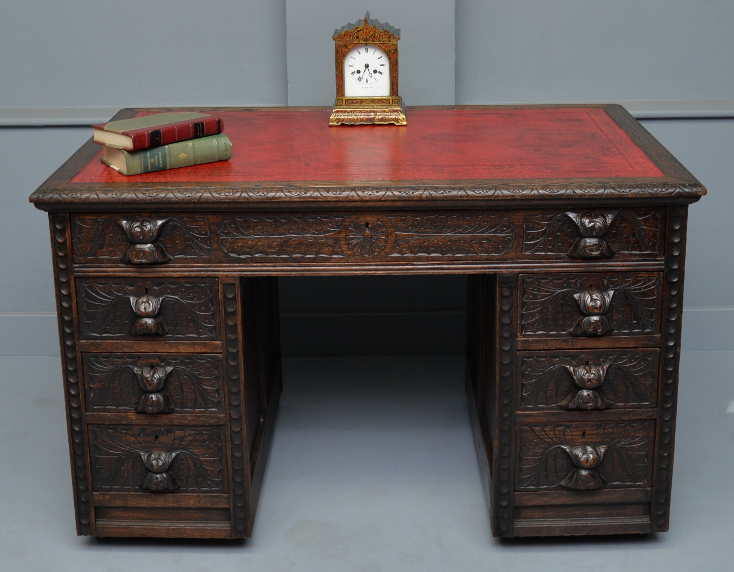victorian carved solid oak pedestal desk