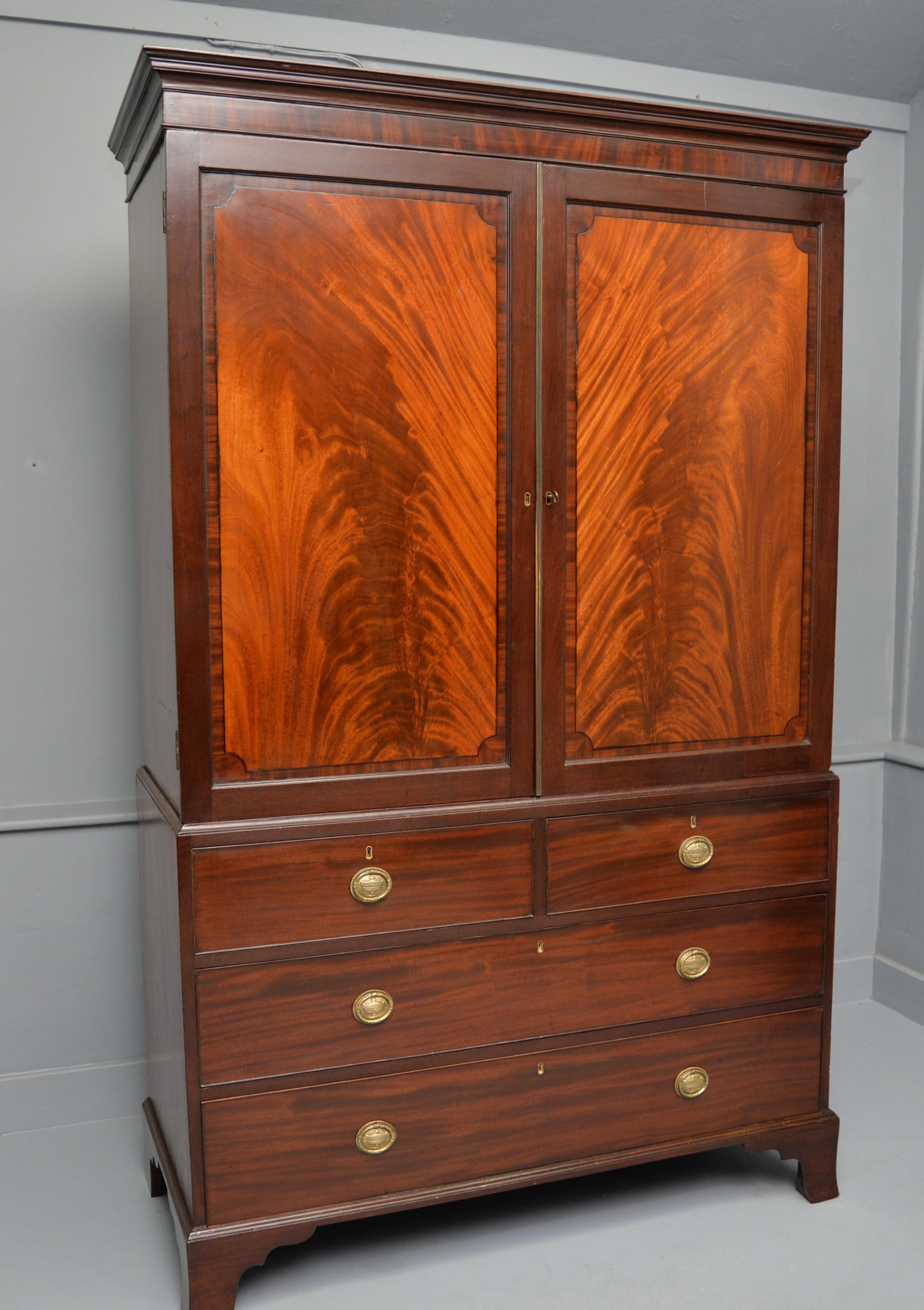 georgian flame mahogany linen press wardrobe