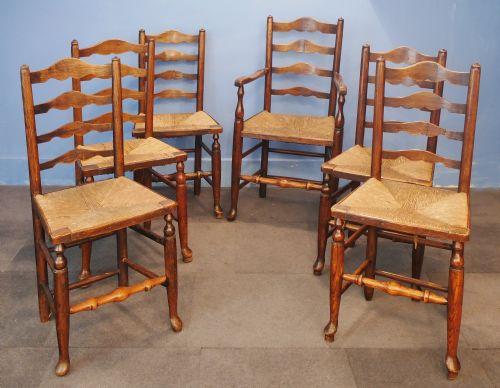 Edwardian (1901-1910) Responsible Pair Of English Antique Oak Ladderback Carver Armchairs Antiques