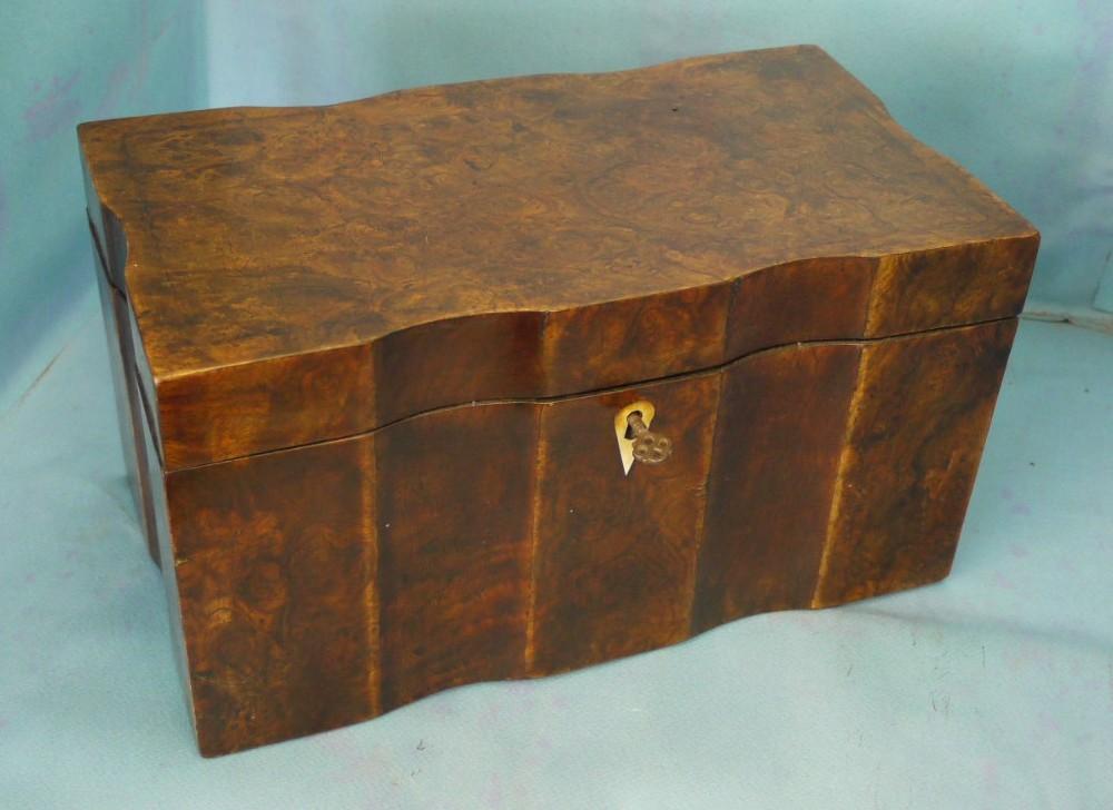regency burr walnut tea caddy